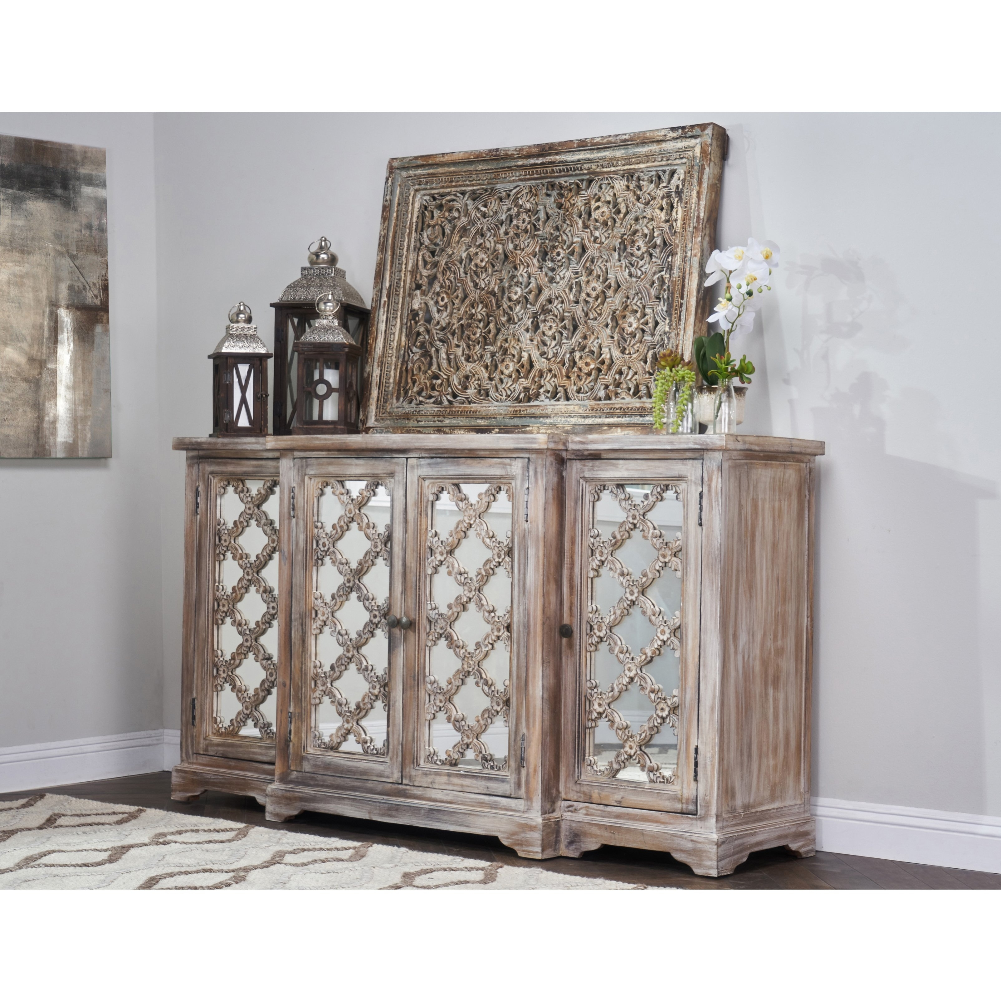 Shop Franklin Rustic Brown Wood Mirrored 71 Inch Sideboardkosas Inside Most Current Aged Mirrored 2 Door Sideboards (#19 of 20)