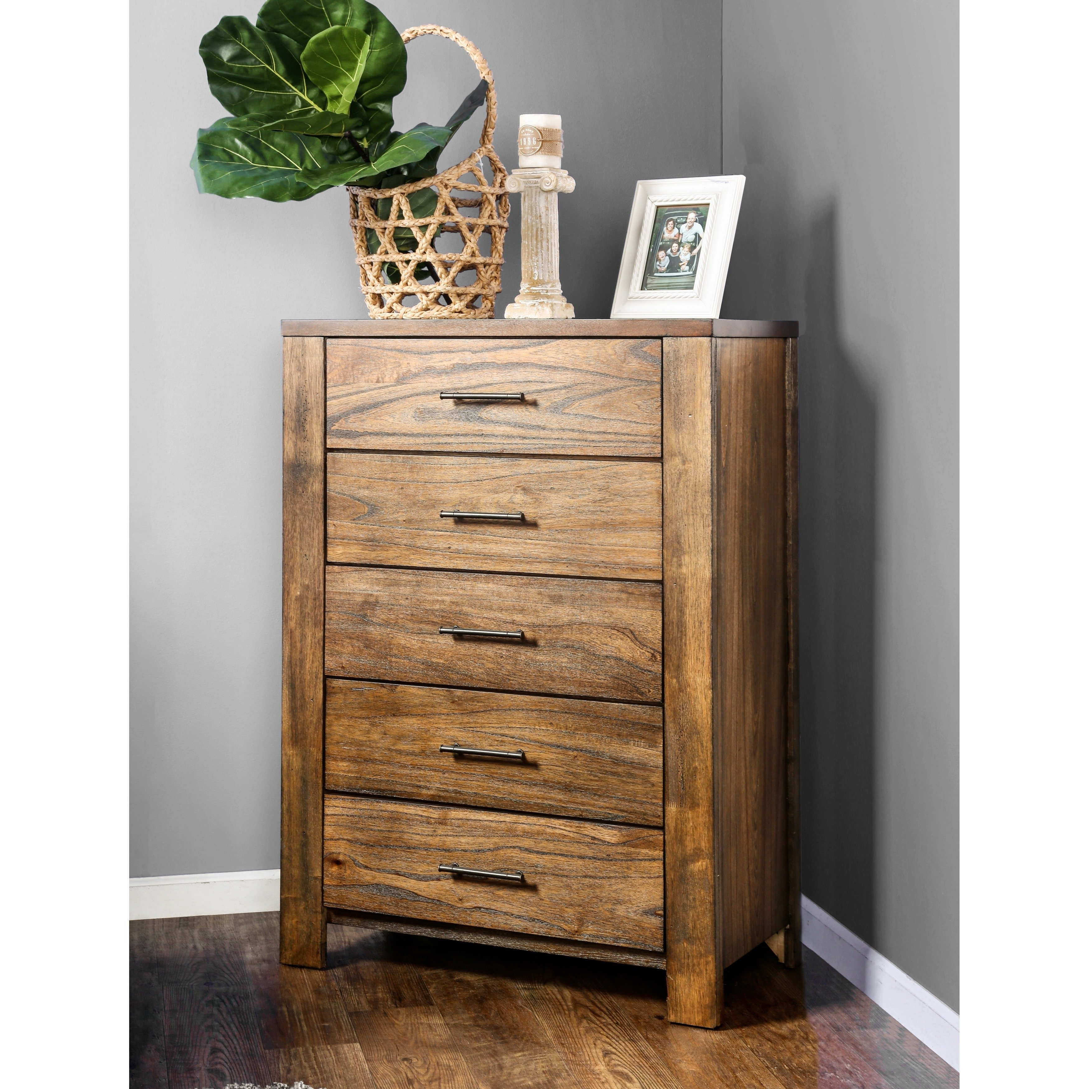 Shop Furniture Of America Casso Rustic Oak 5 Drawer Chest – Free In 2018 Light Brown Reclaimed Elm & Pine 84 Inch Sideboards (View 20 of 20)