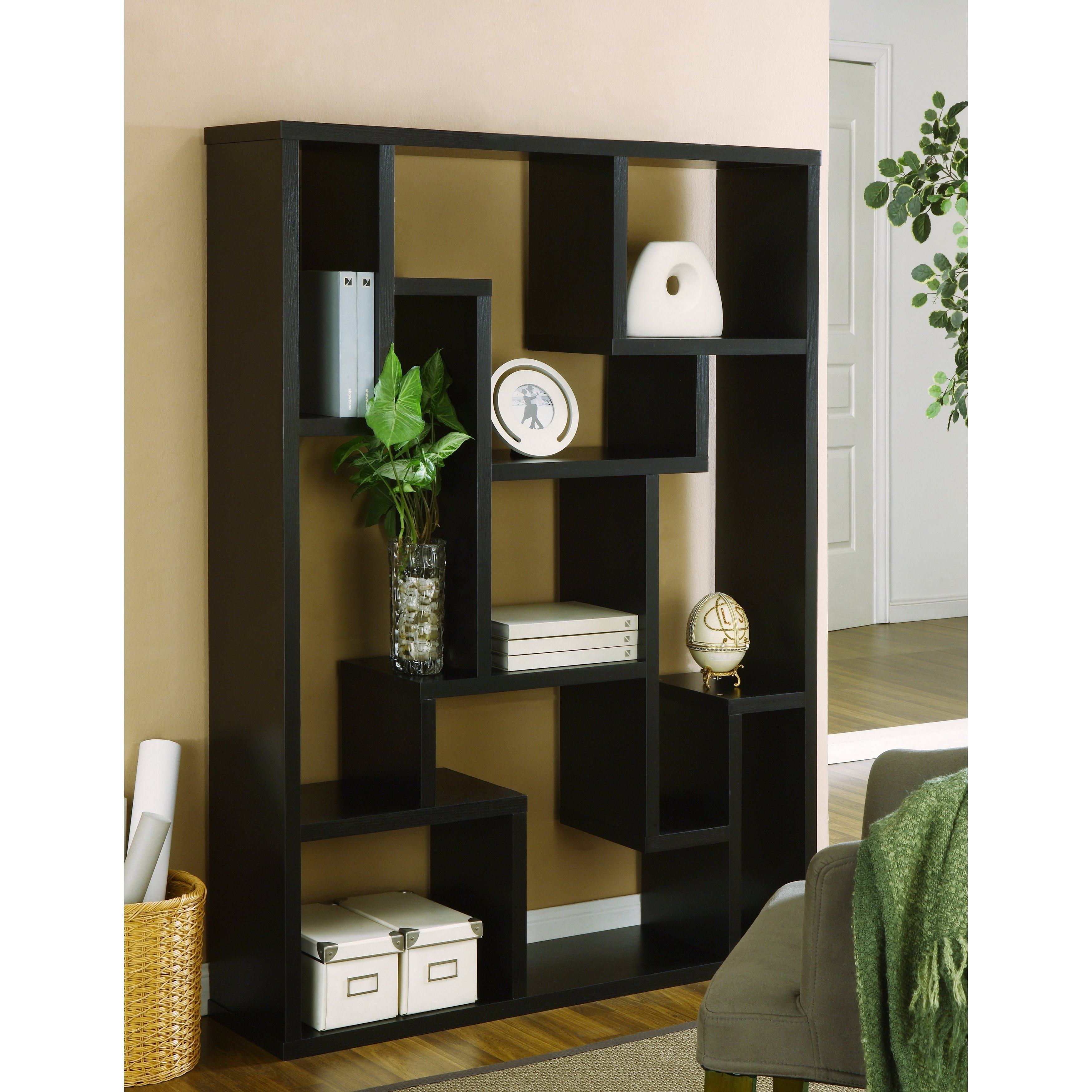 Shop Furniture Of America Mandy Black Bookcase / Room Divider – On Intended For Most Recently Released Mandy Paper White Side Chairs (View 17 of 20)
