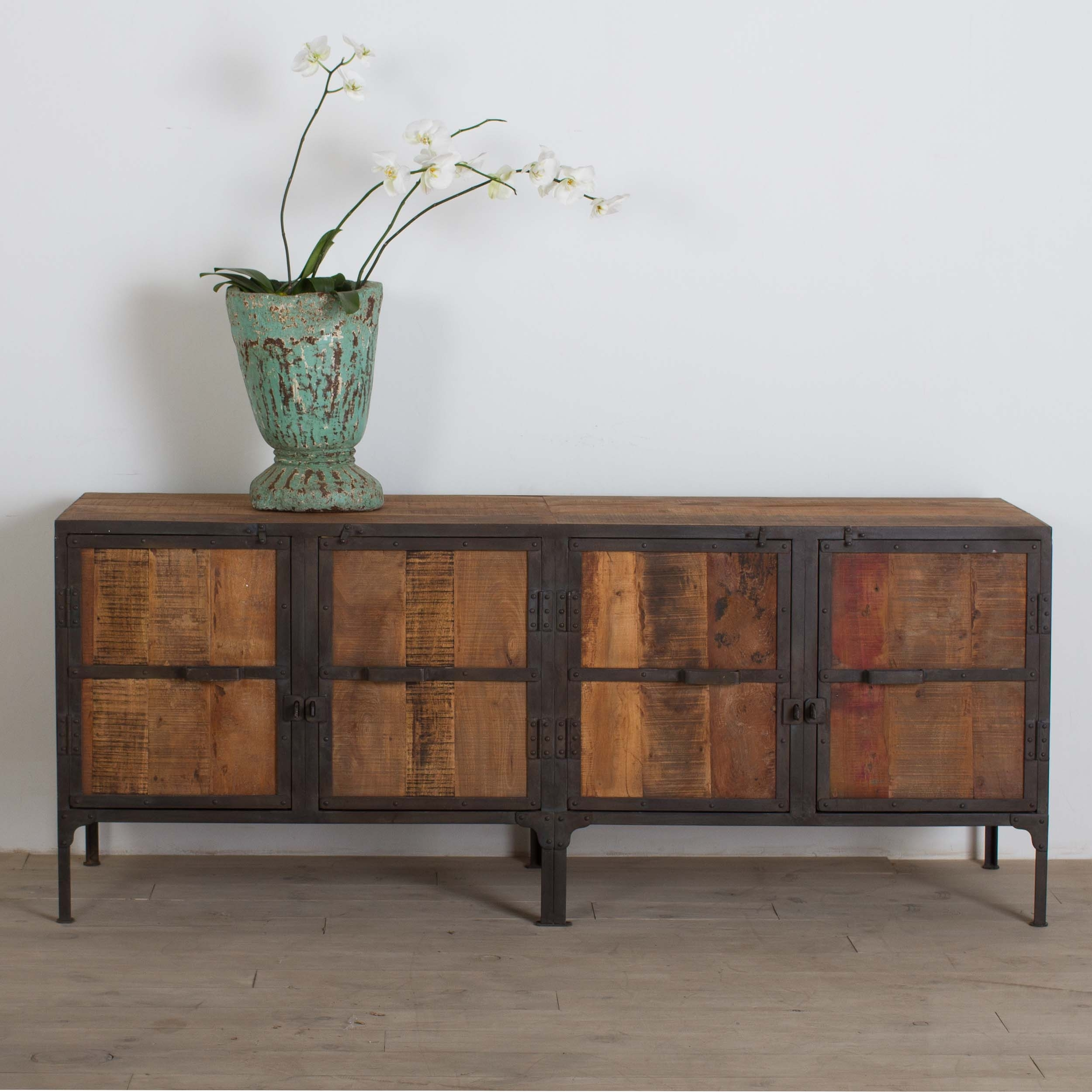 Shop Handmade Cg Sparks Handmade Hyderabad Reclaimed Wood And Metal Within Current White Wash Carved Door Jumbo Sideboards (View 20 of 20)
