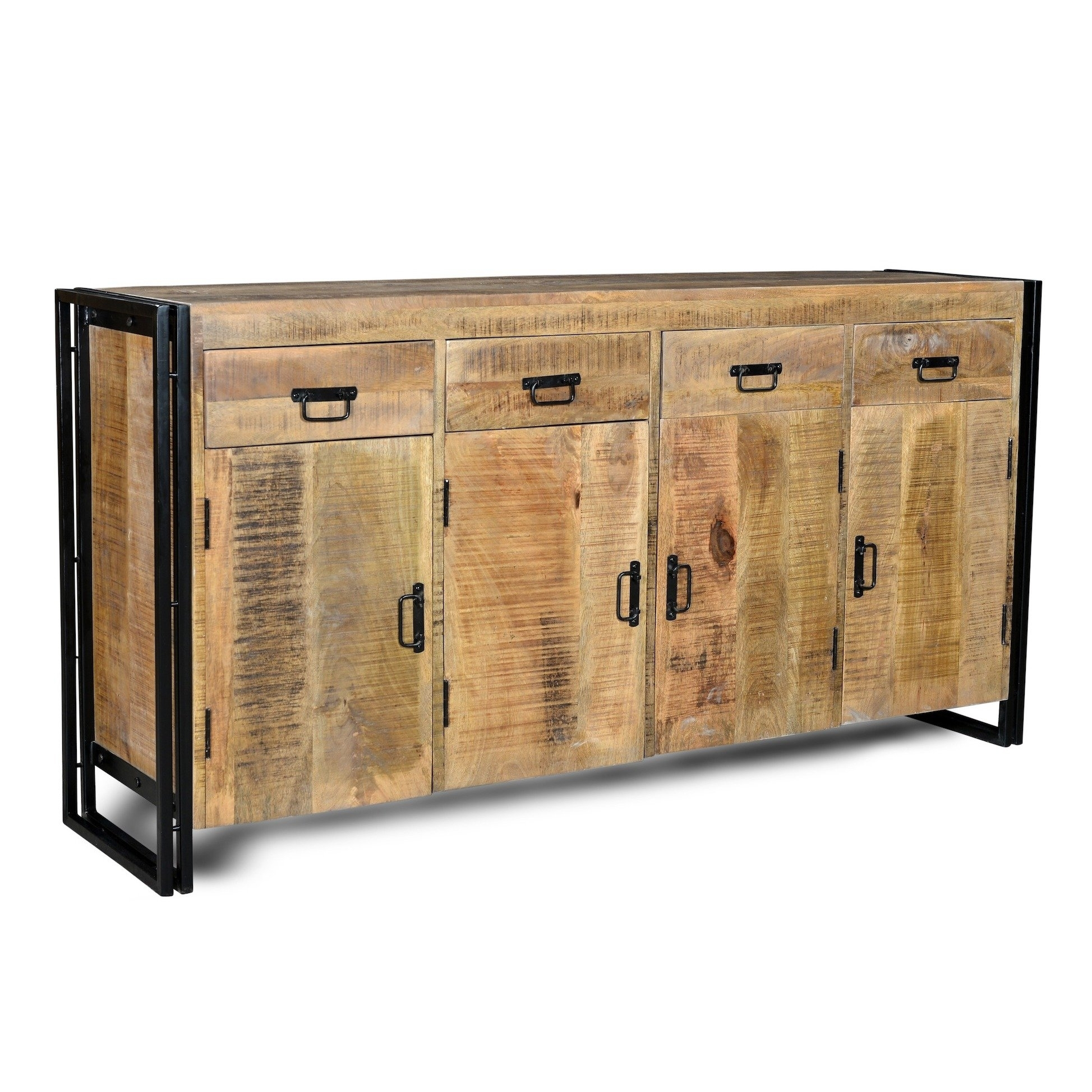 Shop Handmade Industrial Reclaimed Wood And Iron Sideboard (india Throughout Most Popular Reclaimed Pine & Iron 4 Door Sideboards (View 3 of 20)