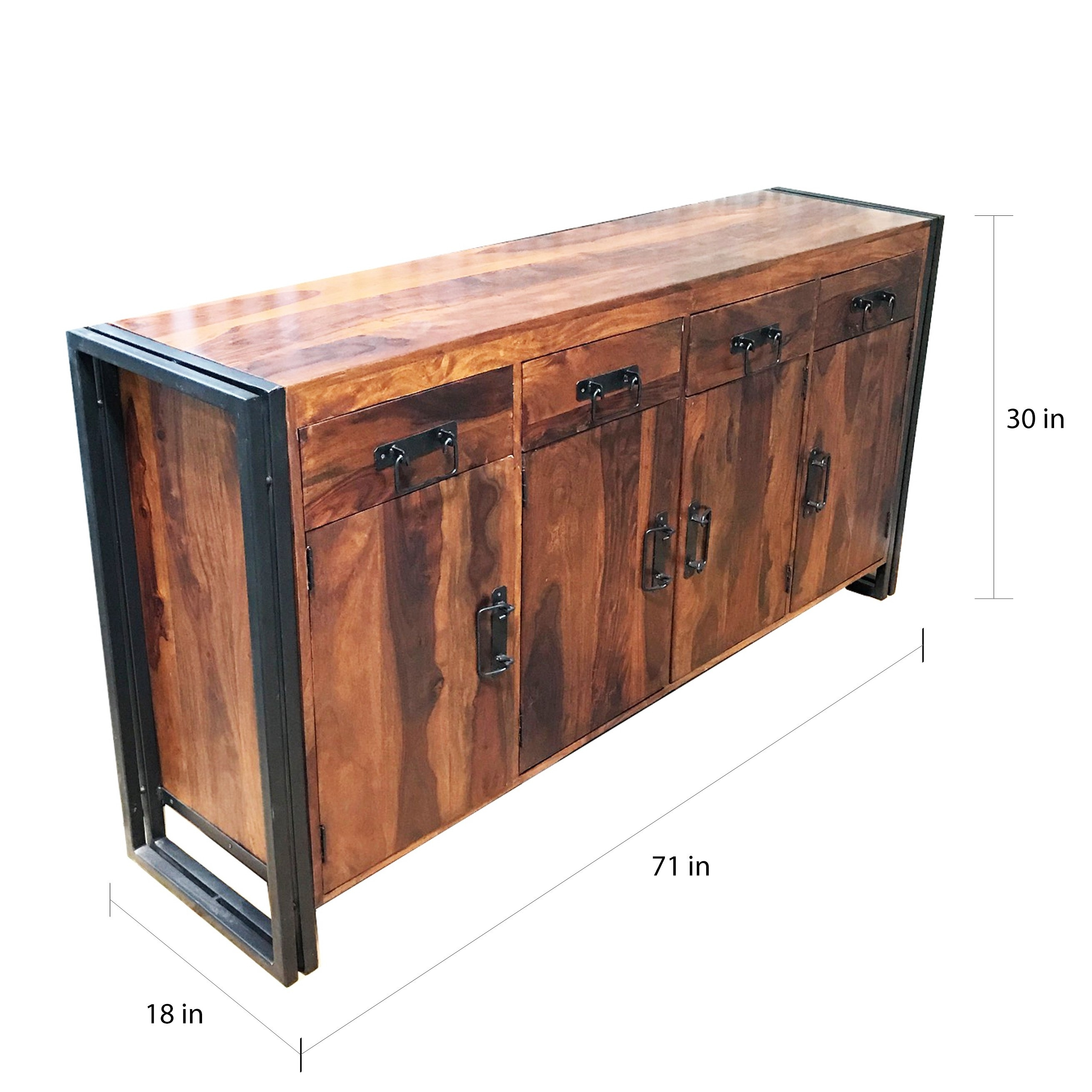 Shop Handmade Timbergirl Seesham Wood And Iron 4 Door 4 Drawer With Most Up To Date Iron Pine Sideboards (#14 of 20)