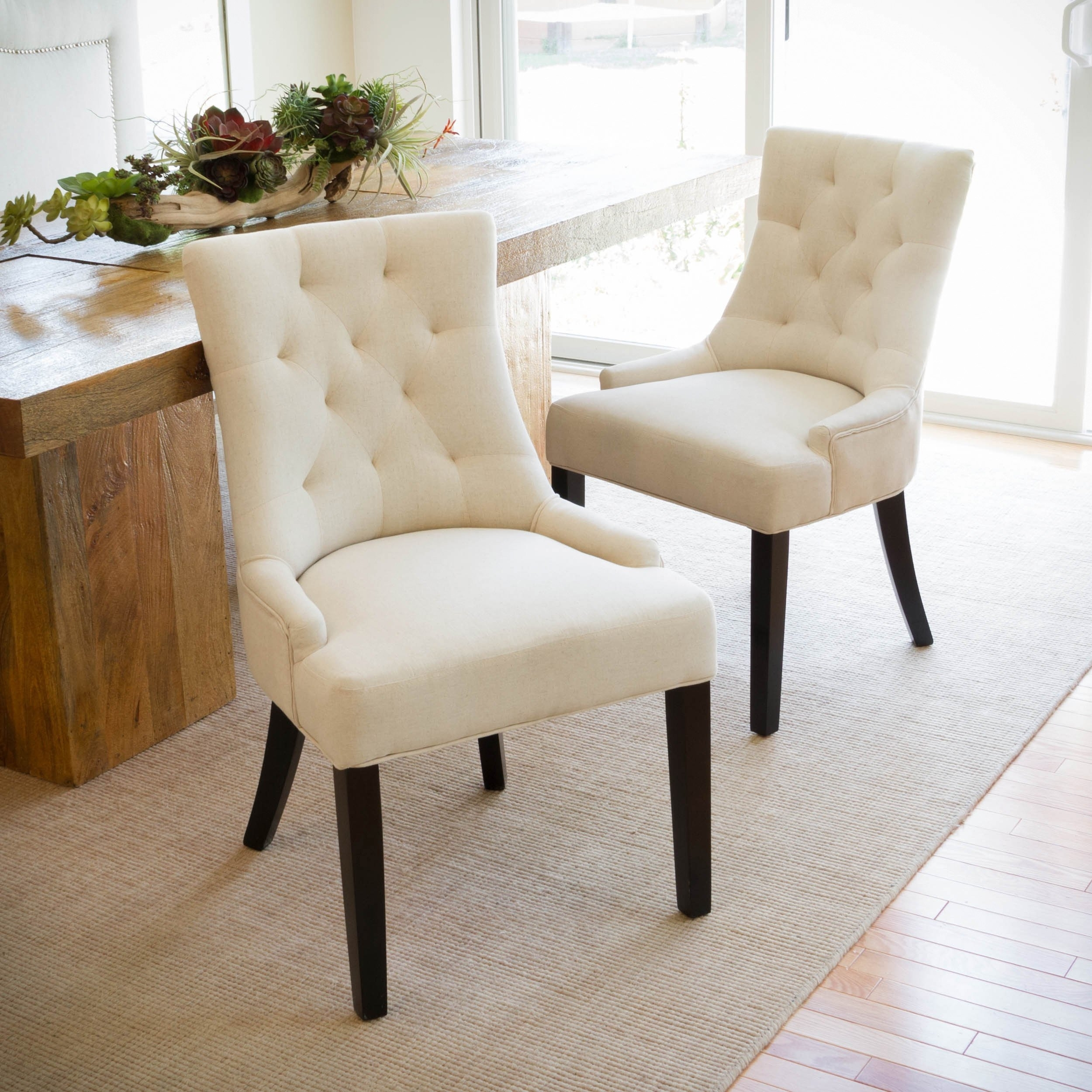 Shop Hayden Tufted Fabric Dining/ Accent Chair (Set Of 2) In Recent Hayden Ii Black Side Chairs (#18 of 20)