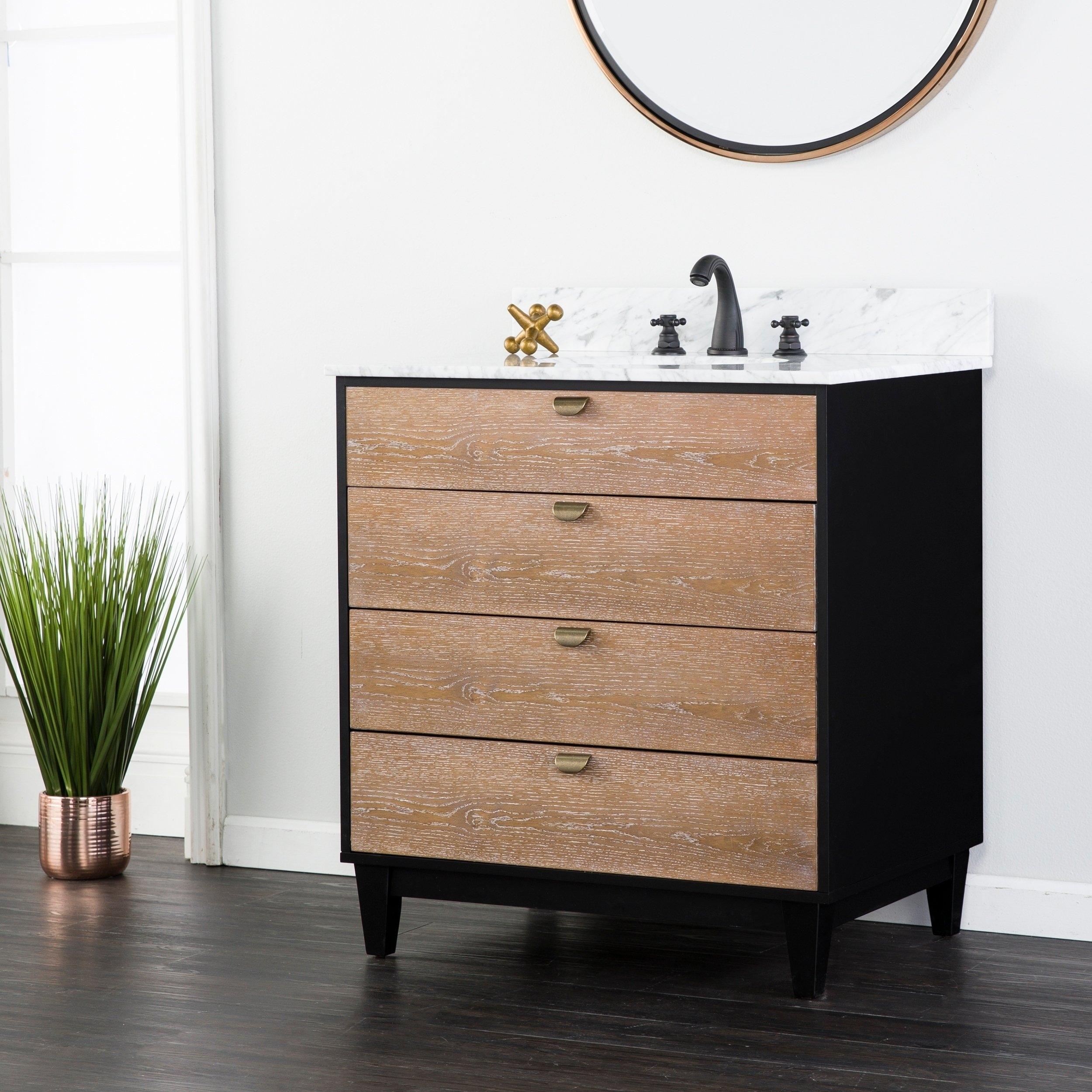 Shop Holly & Martin Tobin Limed Burnt Oak W/ Marble Bath Vanity Sink For Latest Mid Burnt Oak 71 Inch Sideboards (View 8 of 20)