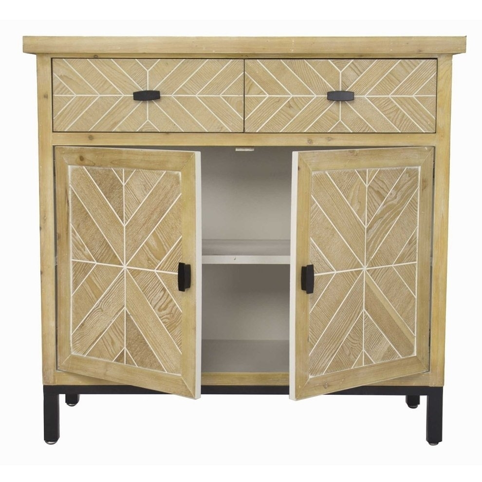 Shop Homeroots Kitchen Urban 2 Drawer 2 Door Parquet Sideboard Intended For 2017 2 Door White Wash Sideboards (View 11 of 20)
