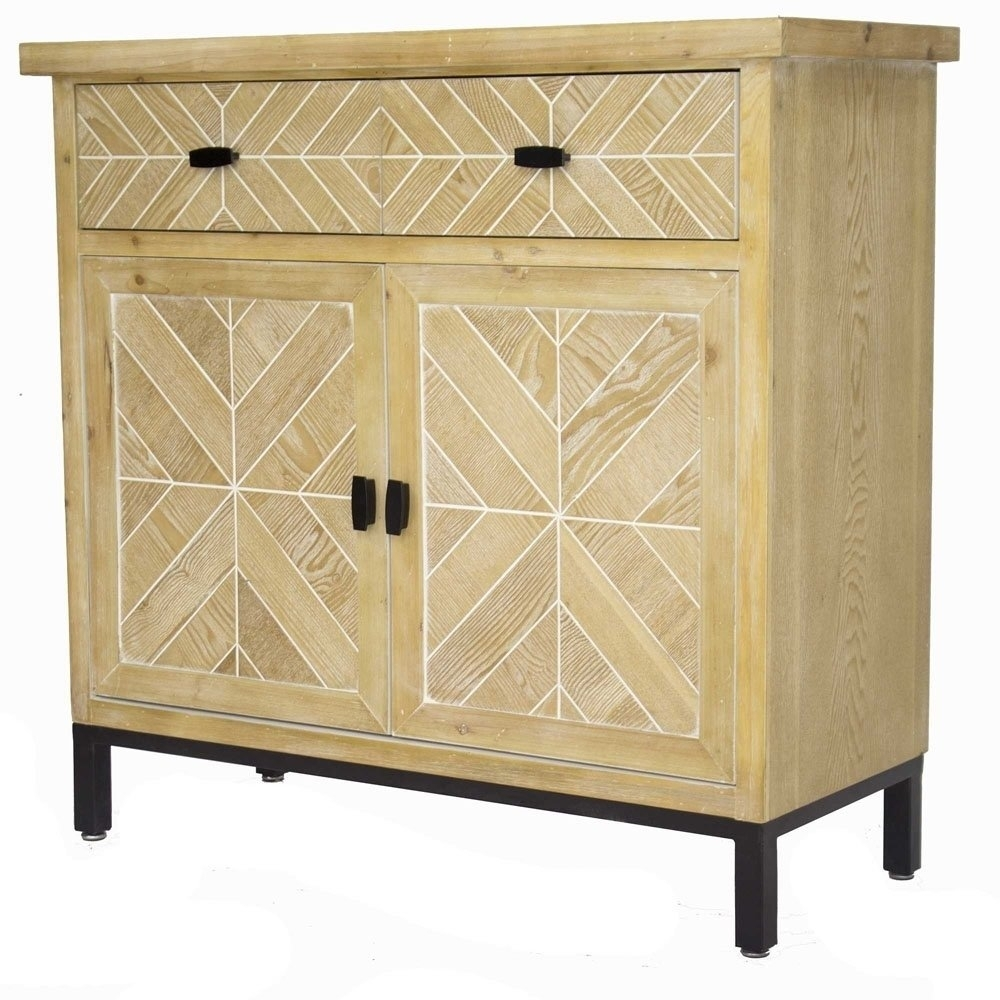 Shop Homeroots Kitchen Urban 2 Drawer 2 Door Parquet Sideboard Intended For Best And Newest 2 Door White Wash Sideboards (View 18 of 20)