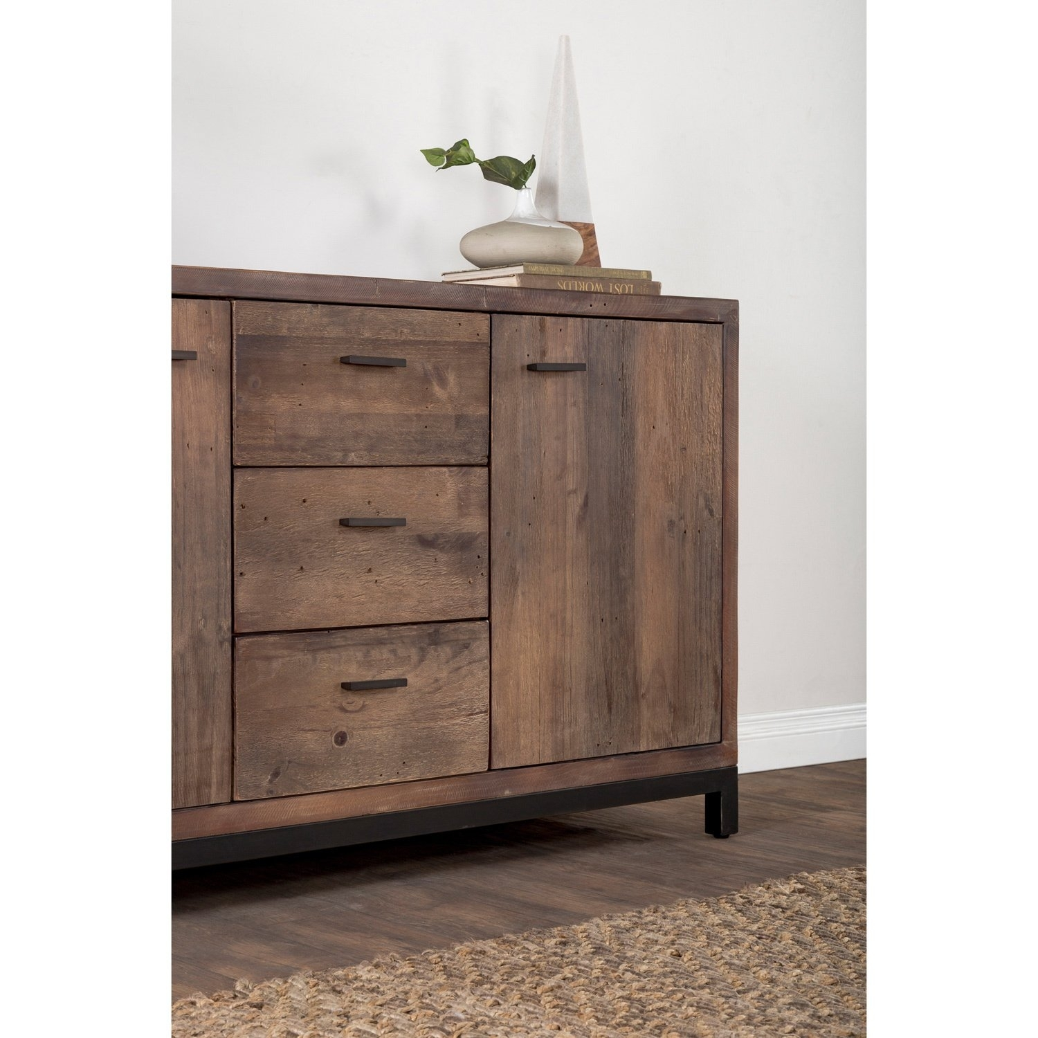 Shop Klamath Reclaimed Pine 3 Drawer 2 Door Sideboardkosas Home Within 2017 Reclaimed Pine & Iron 4 Door Sideboards (View 18 of 20)