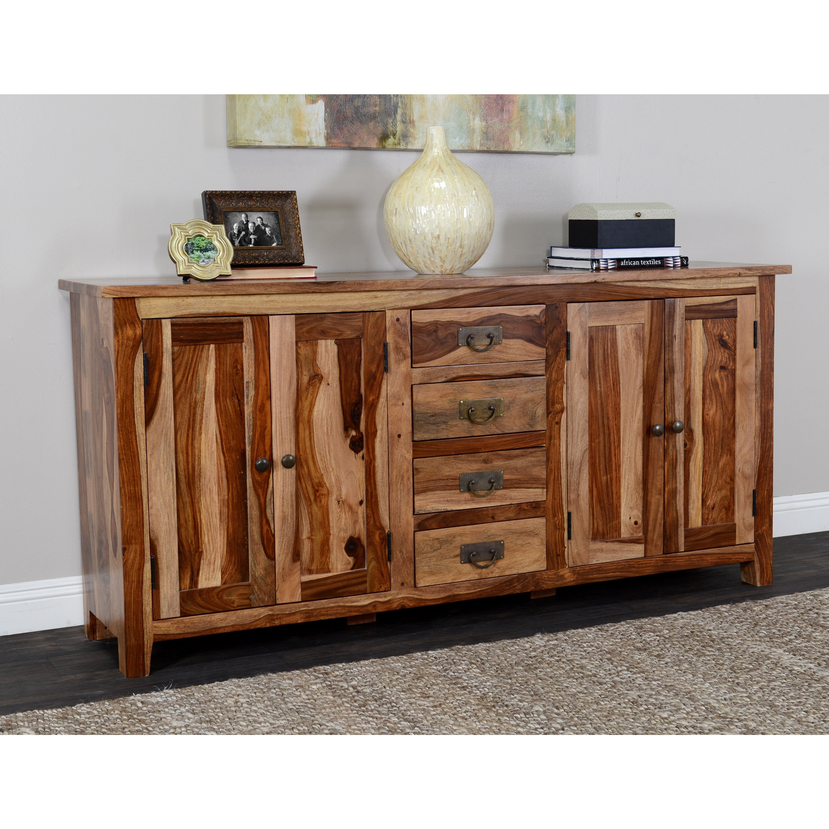 Shop Kosas Home Zabby 4 Drawer 4 Door Sideboard – Free Shipping Intended For 2018 Brown Chevron 4 Door Sideboards (#15 of 20)