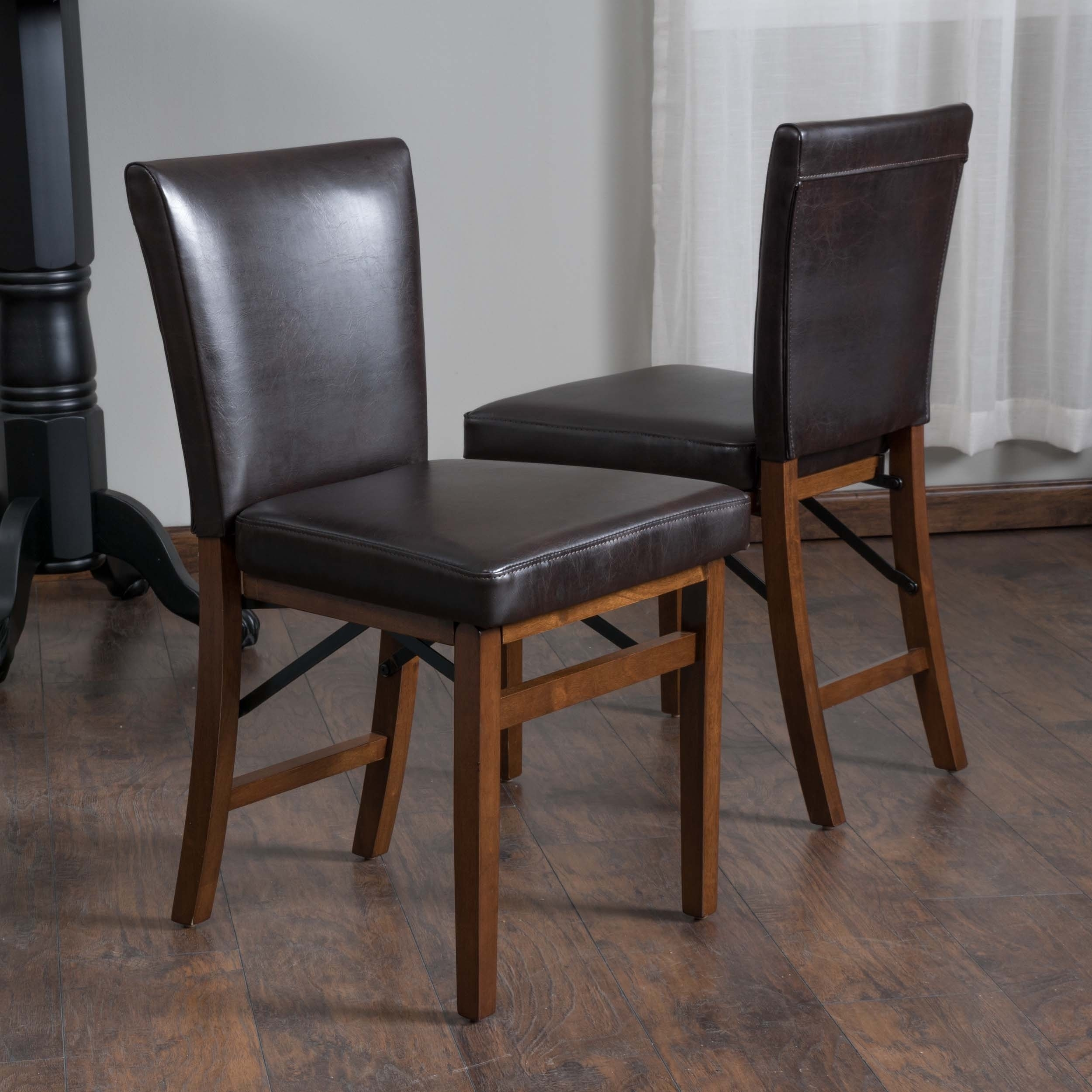 Shop Lane Bonded Leather Folding Dining Chair (Set Of 2) Intended For Most Current Caira Black Upholstered Diamond Back Side Chairs (#16 of 20)