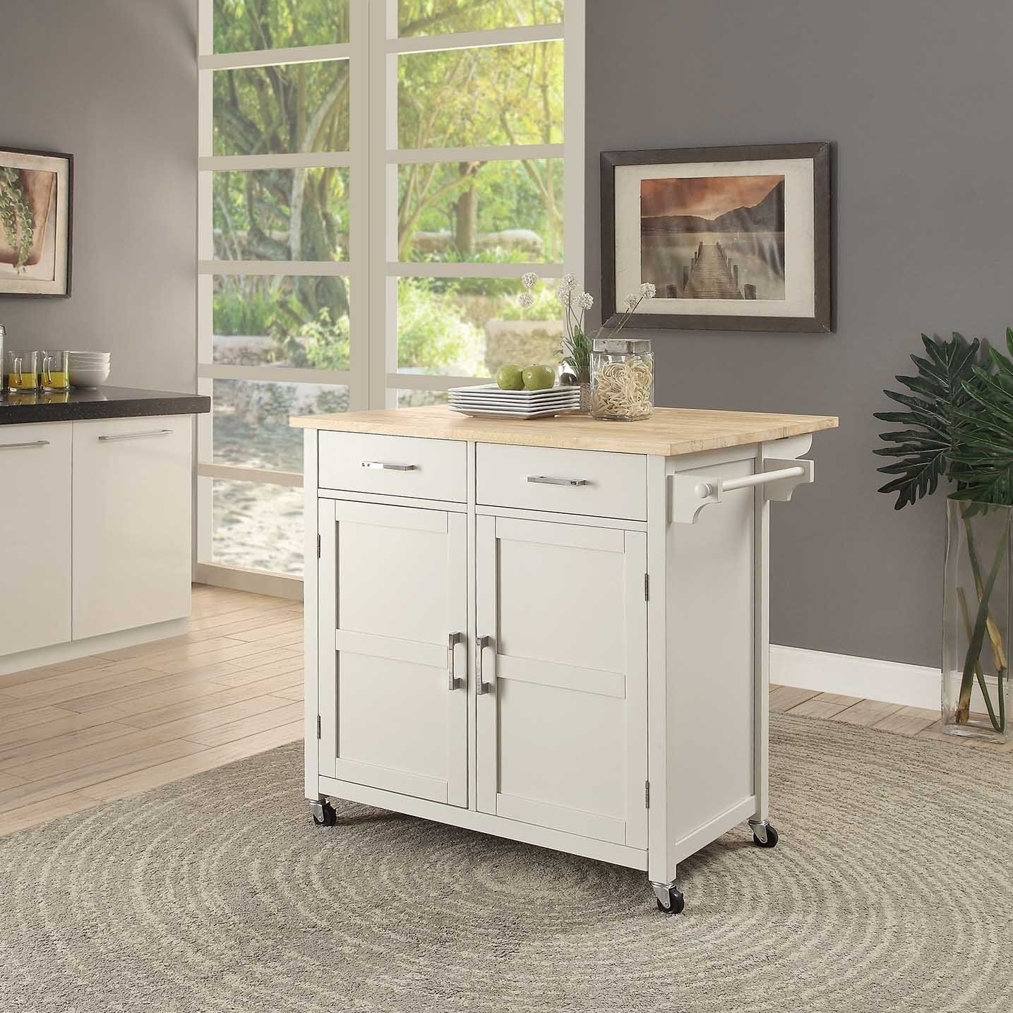 Shop Macie Kitchen Cart – Free Shipping Today – Overstock – 19897293 With Trendy Macie Side Chairs (#17 of 20)