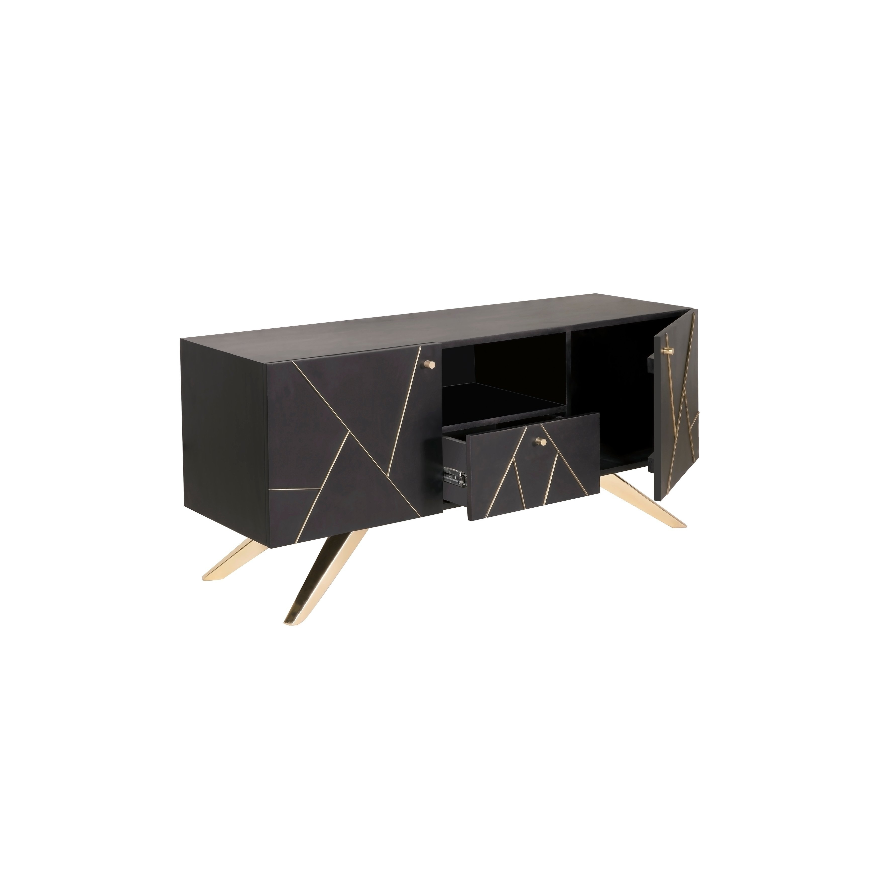 Shop Magnus Glam Brown/ Gold Glam Media Stand – On Sale – Free Regarding Most Recent Mid Burnt Oak 71 Inch Sideboards (View 11 of 20)