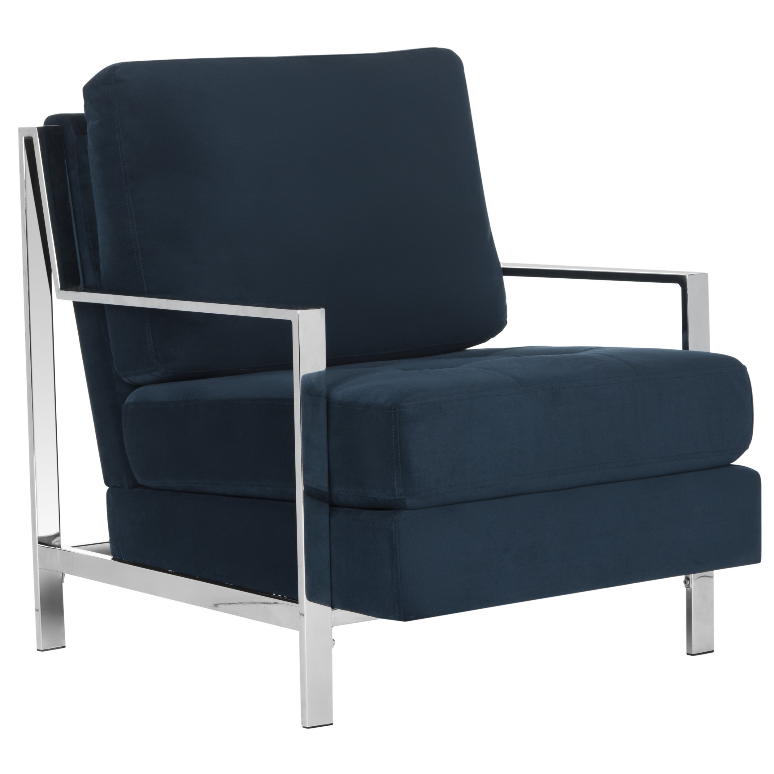 Shop Mid Century Modern Glam Velvet Navy Blue Club Chair – Free For Most Up To Date Walden Upholstered Arm Chairs (View 7 of 20)