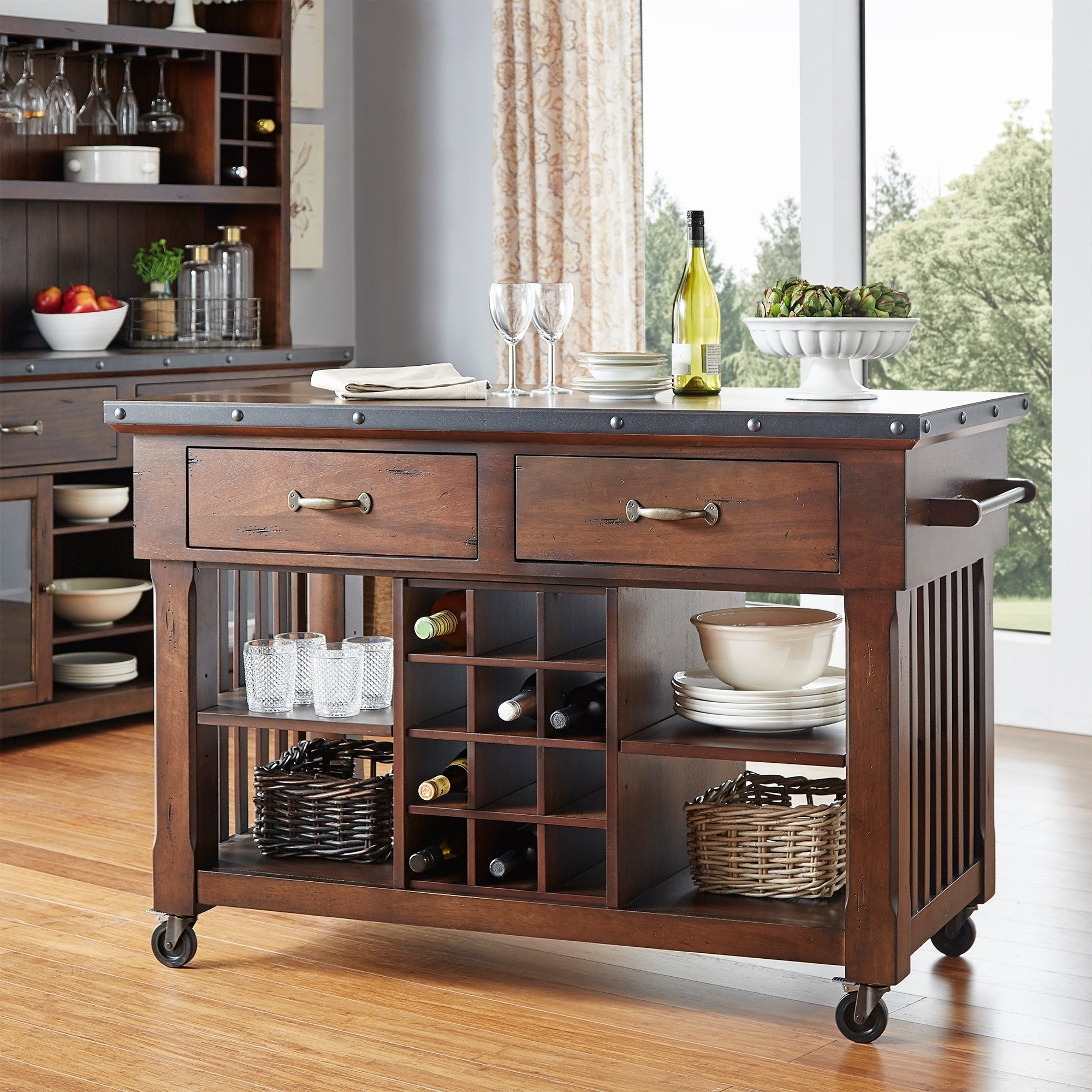 Shop Norwood 2 Drawer Rolling Kitchen Island With Wine Rack – Free For Preferred Norwood Upholstered Hostess Chairs (#13 of 20)