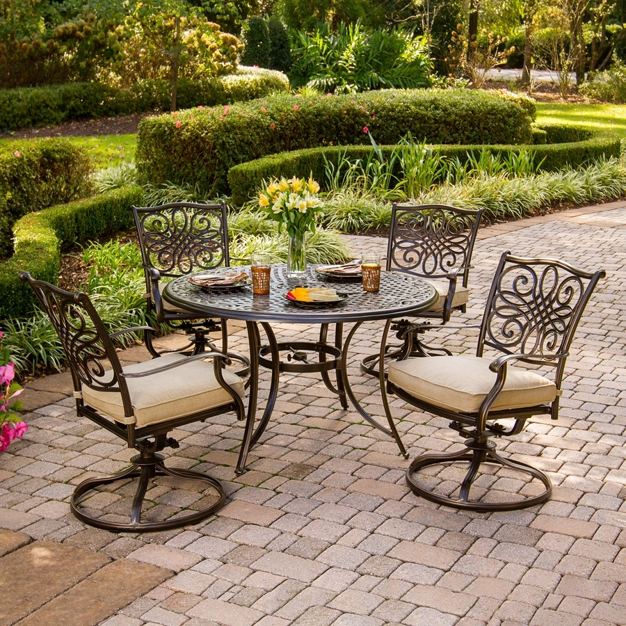 Shop Patio Dining Sets At Lowes Within Most Recent Garten Storm Chairs With Espresso Finish Set Of  (#16 of 20)
