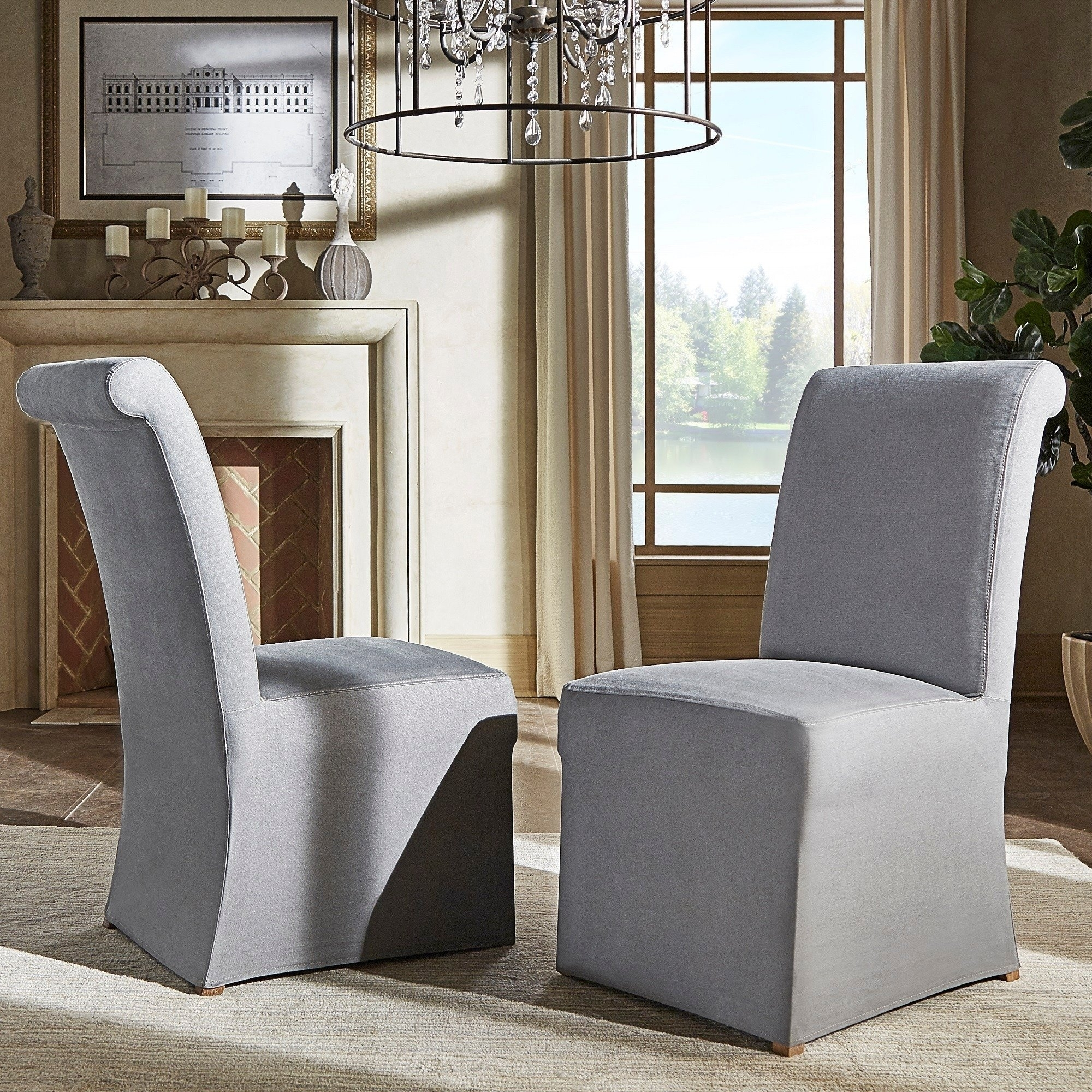 Shop Potomac Slipcovered Rolled Back Parsons Chairs (Set Of 2) Regarding 2019 Garten Marble Skirted Side Chairs Set Of  (View 15 of 20)