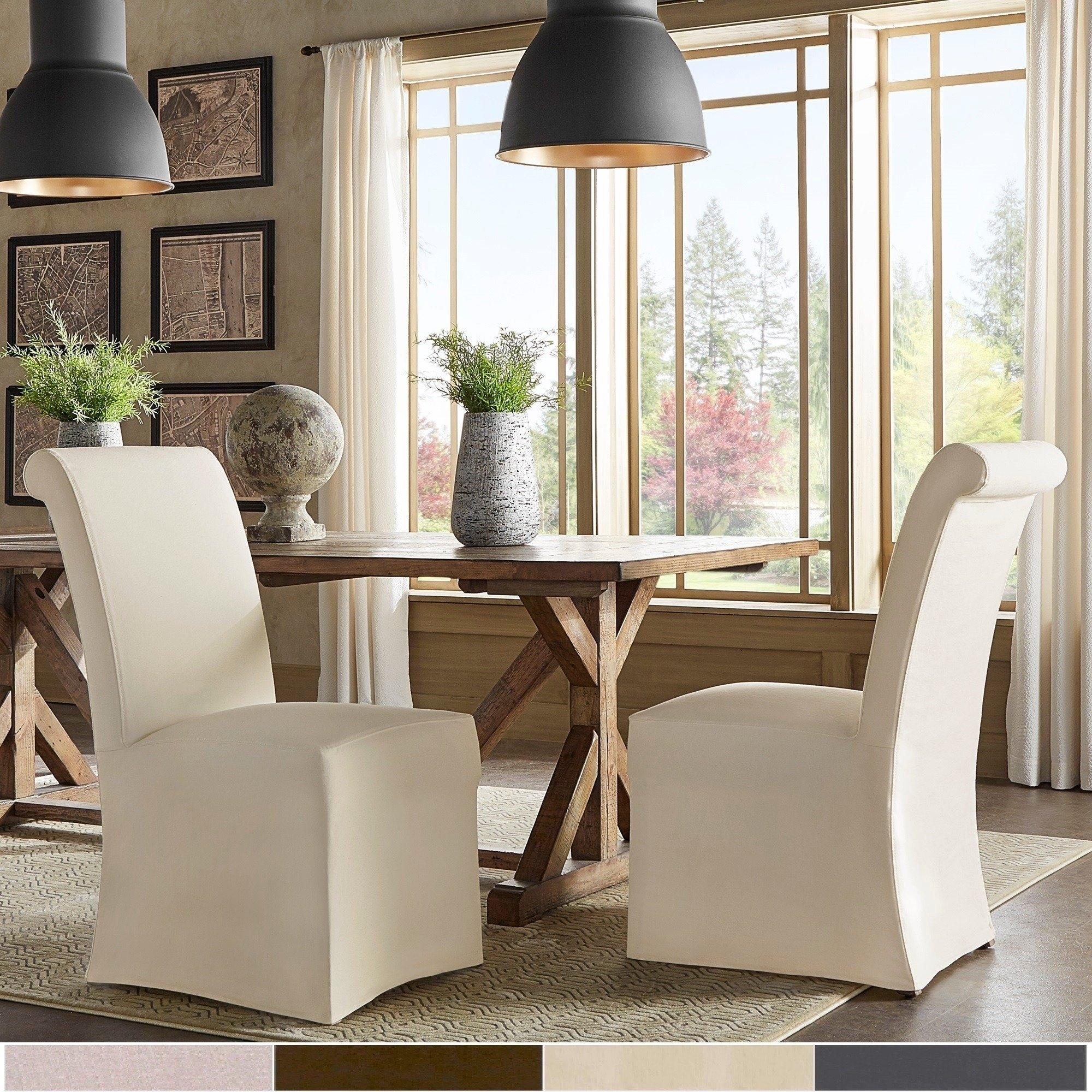 Shop Potomac Slipcovered Rolled Back Parsons Chairs (Set Of 2) Within Preferred Garten Linen Skirted Side Chairs Set Of  (View 14 of 20)