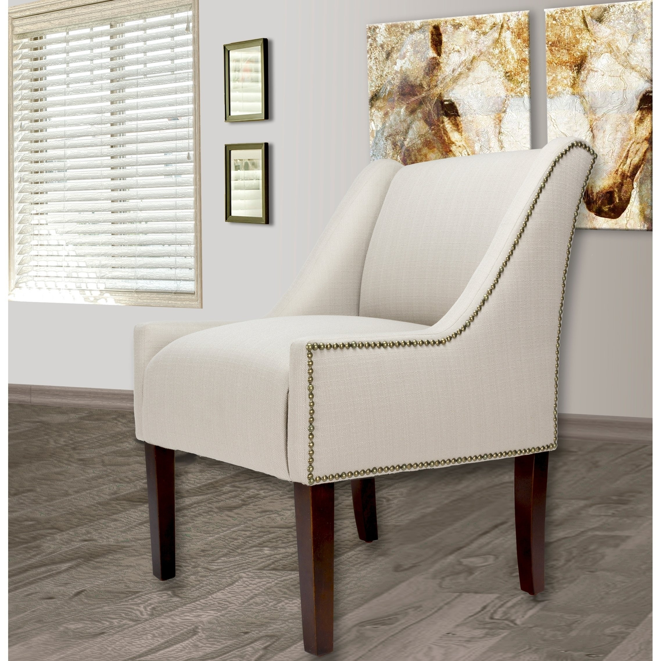 Shop Racer Sachi04 Parson Chair With Nail Trim Edging , Espresso Leg In Fashionable Lindy Dove Grey Side Chairs (View 17 of 20)