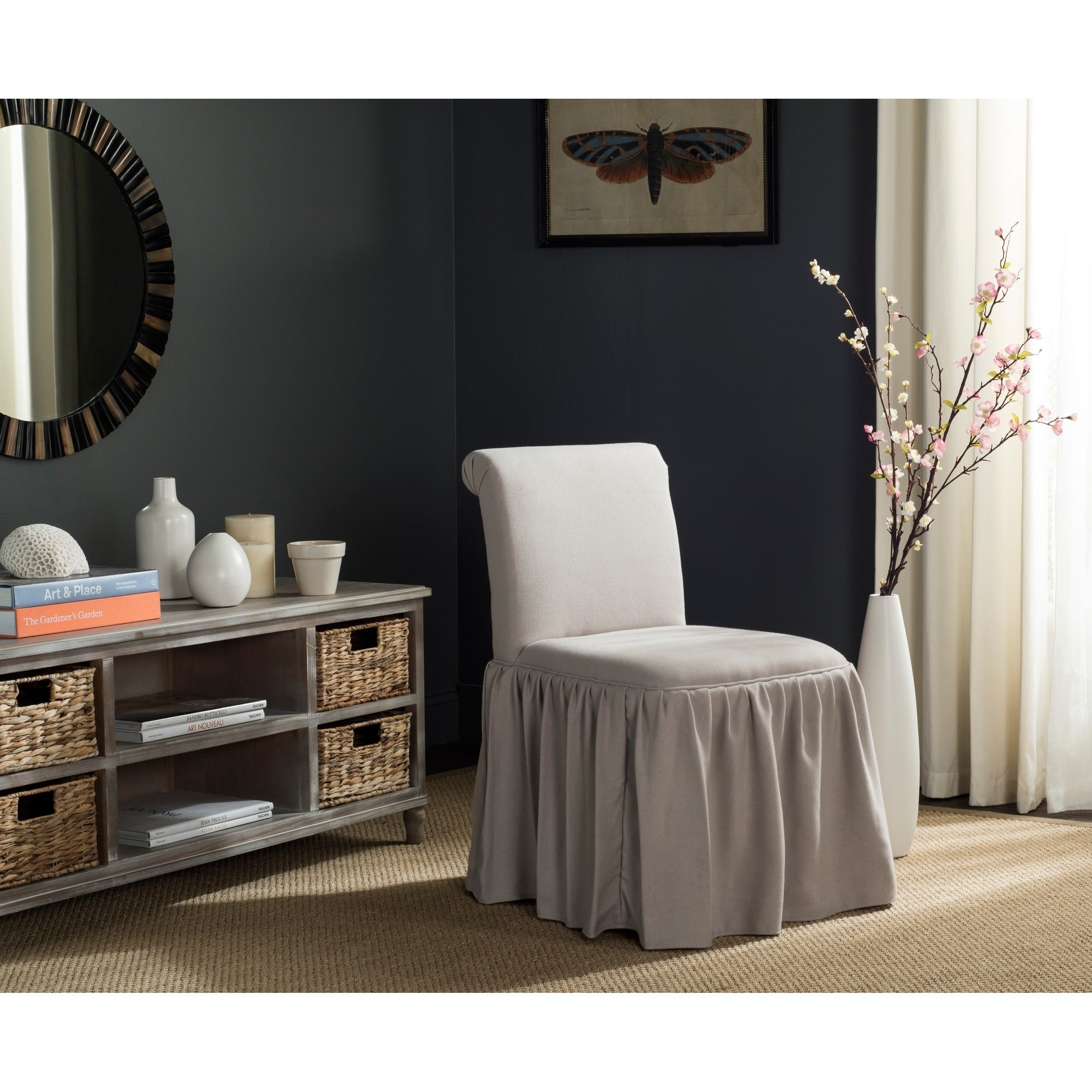 Shop Safavieh Ivy Taupe Linen Vanity Chair – Free Shipping Today With Fashionable Garten Linen Skirted Side Chairs Set Of  (#15 of 20)
