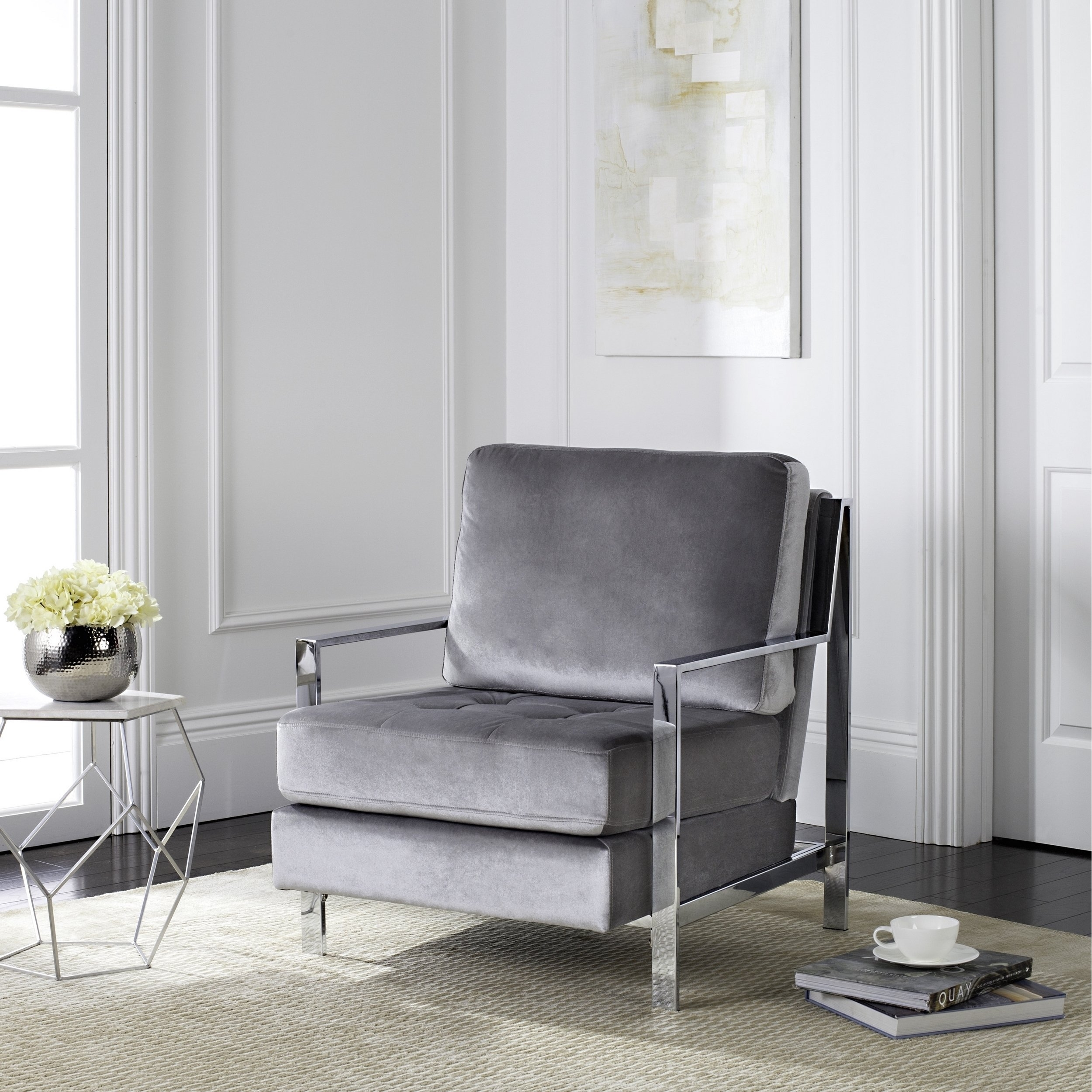Shop Safavieh Mid Century Modern Glam Walden Velvet Light Grey Club With Widely Used Walden Upholstered Side Chairs (#10 of 20)