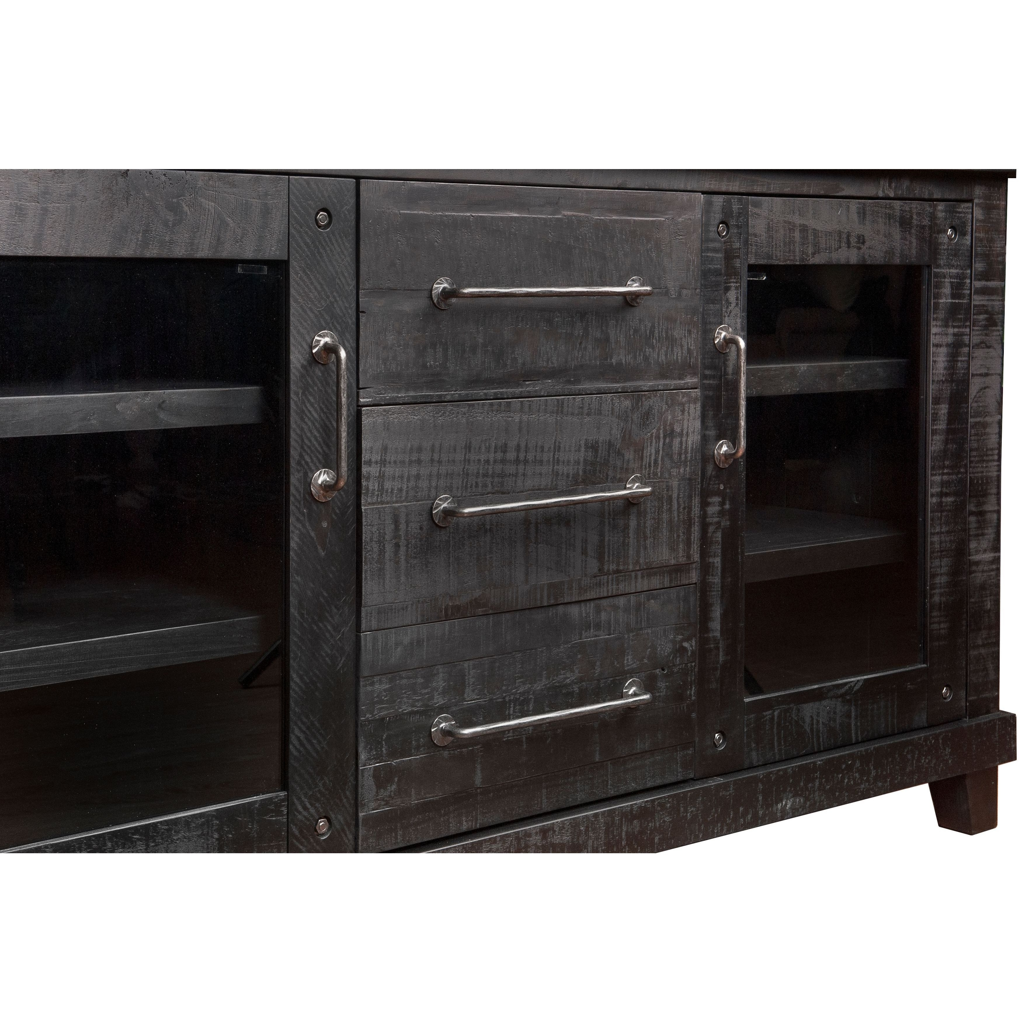 Shop Solid Pine Industrial Wood Sideboard – Free Shipping Today With 2018 Rustic Black & Zebra Pine Sideboards (View 4 of 20)
