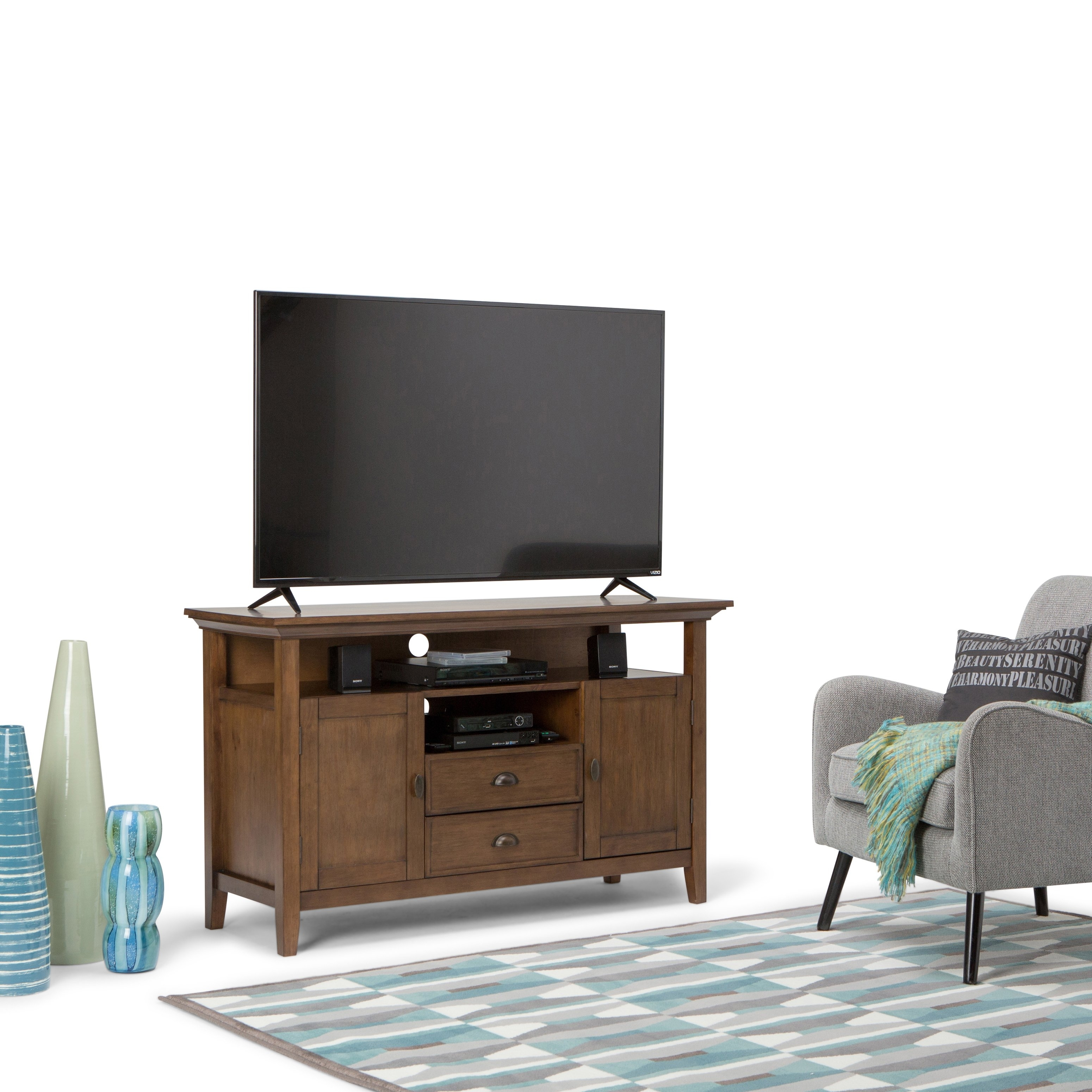 Shop Wyndenhall Mansfield 54 Inch Tv Media Stand For Tv's Up To 60 Intended For Best And Newest Mid Burnt Oak 71 Inch Sideboards (View 17 of 20)