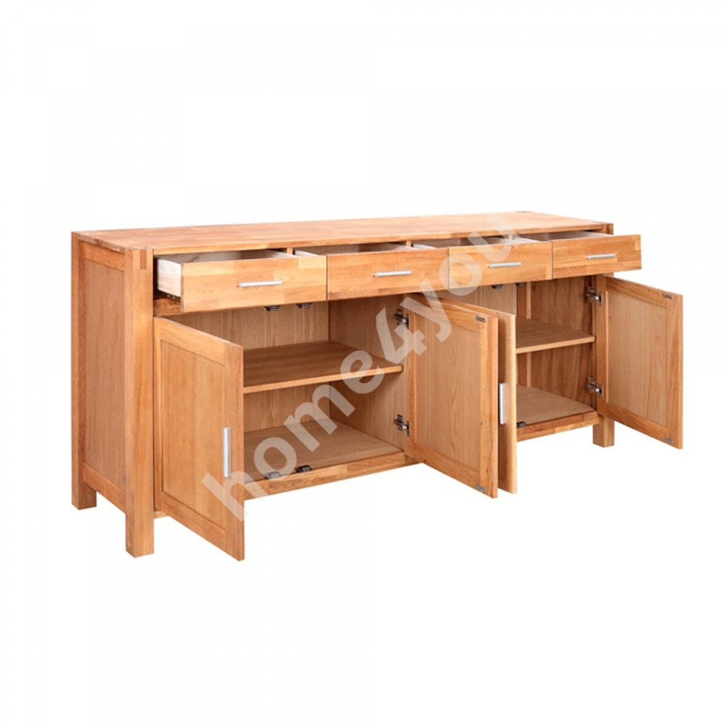 Sideboard Chicago New With 4 Doors And 4 Drawers, 180x44xh86cm, Wood Throughout Most Up To Date Natural Oak Wood 2 Door Sideboards (View 11 of 20)