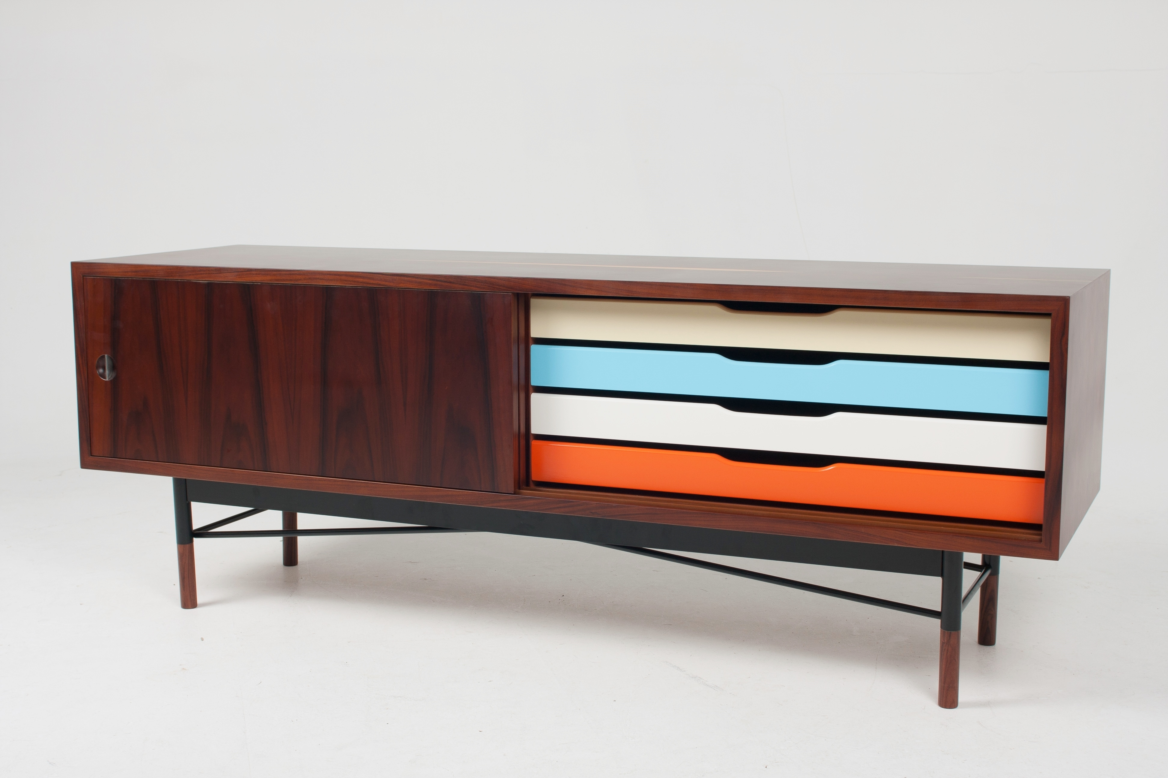 Sideboard Furniture Design Come With Walnut Material And Varnished Regarding Most Up To Date Walnut Finish 4 Door Sideboards (View 19 of 20)