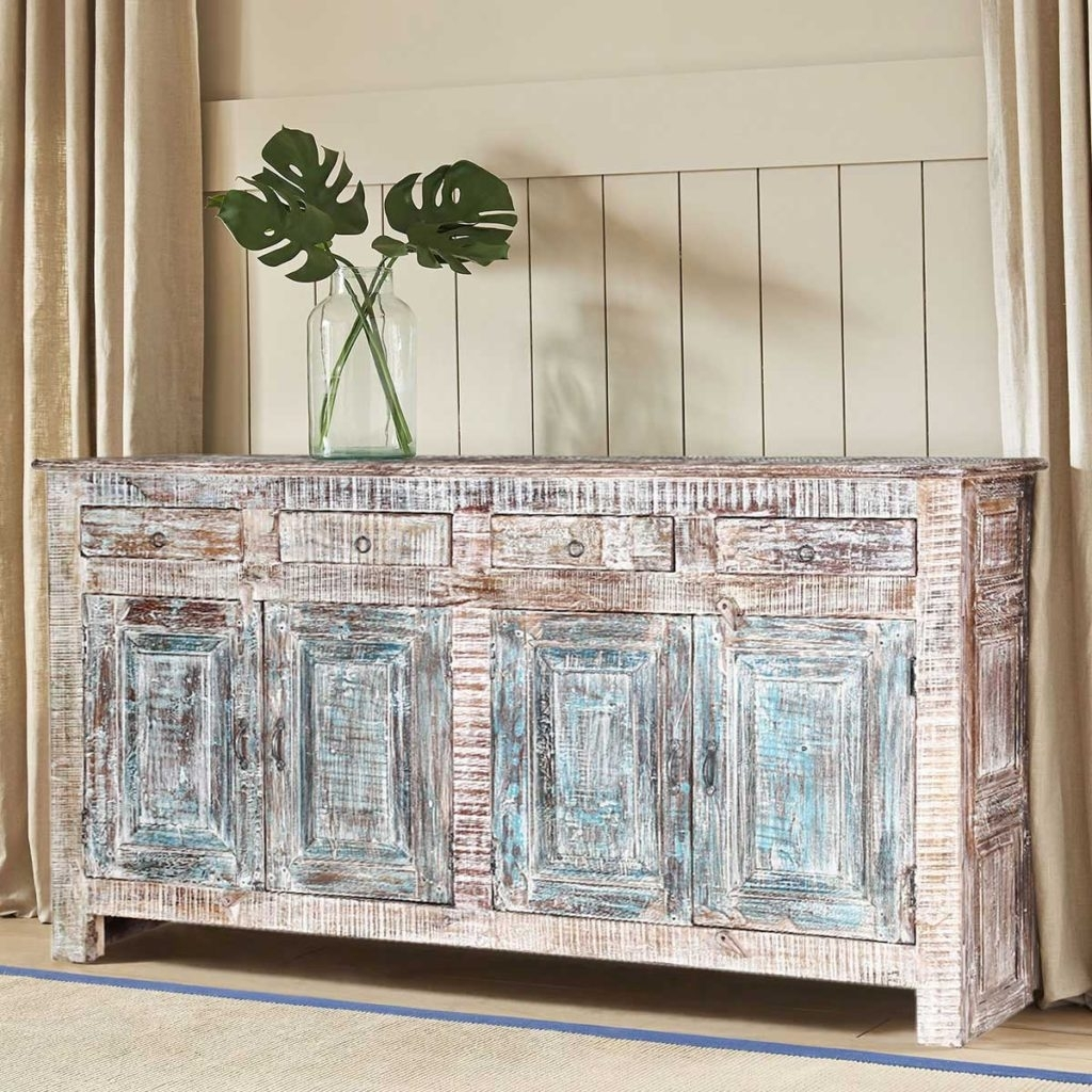Sierra Living Concepts | Winter White Rustic Reclaimed Wood 4 Drawer In 2018 Reclaimed Pine Turquoise 4 Door Sideboards (View 12 of 20)