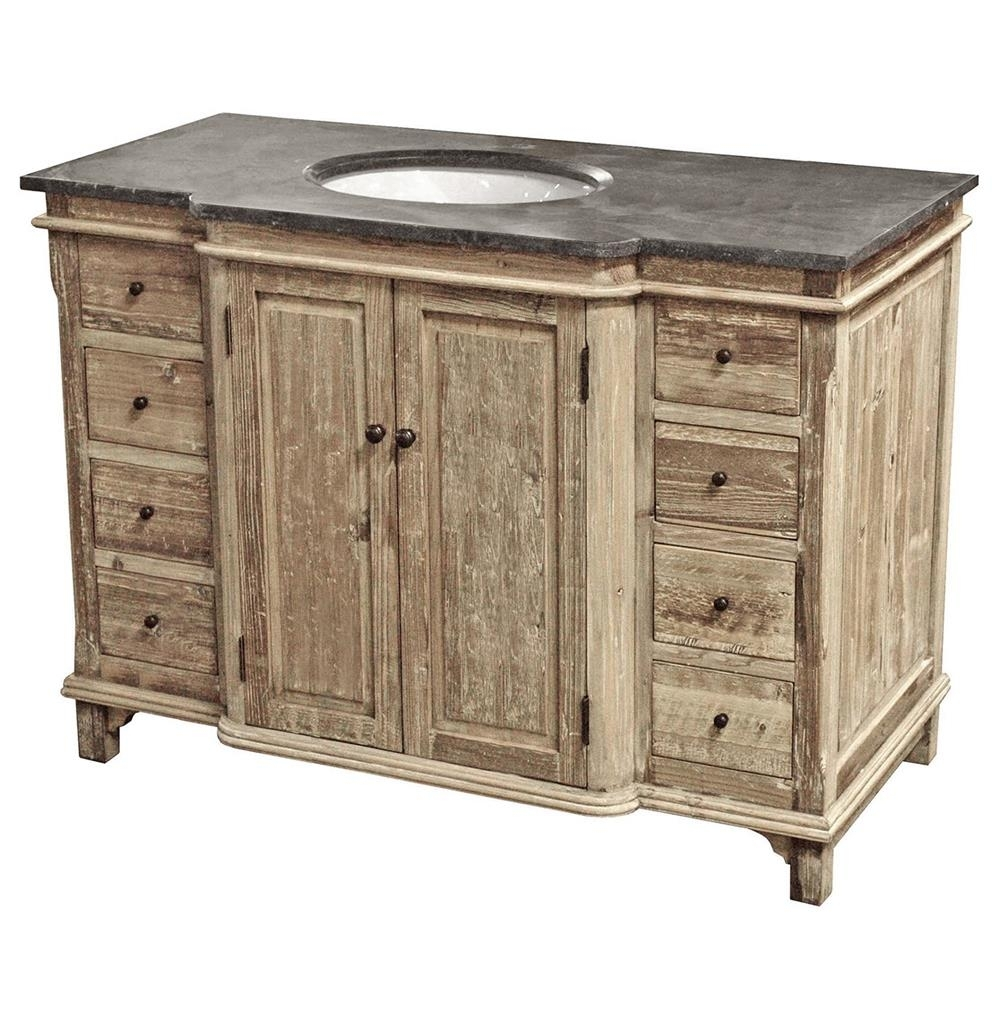 Sinclar French Country Reclaimed Pine Wash Blue Stone Single Bath With Regard To Recent Blue Stone Light Rustic Black Sideboards (#20 of 20)