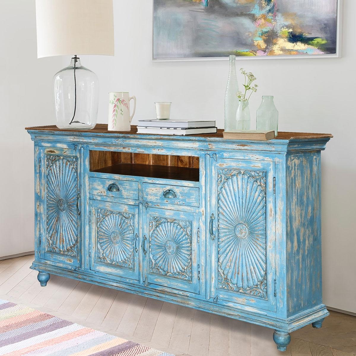 Sky Blue Starburst Handcrafted Mango Wood 2 Drawer Buffet Cabinet Regarding Latest Starburst 3 Door Sideboards (#15 of 20)