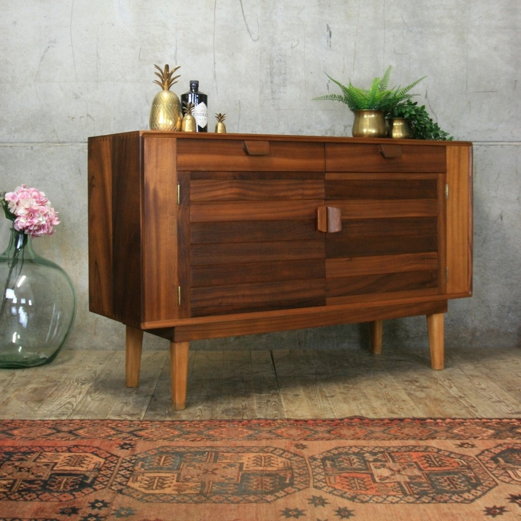 Small Mid Century Walnut Sideboard #3/19 Pedlars Inside Most Current Walnut Small Sideboards (View 9 of 20)