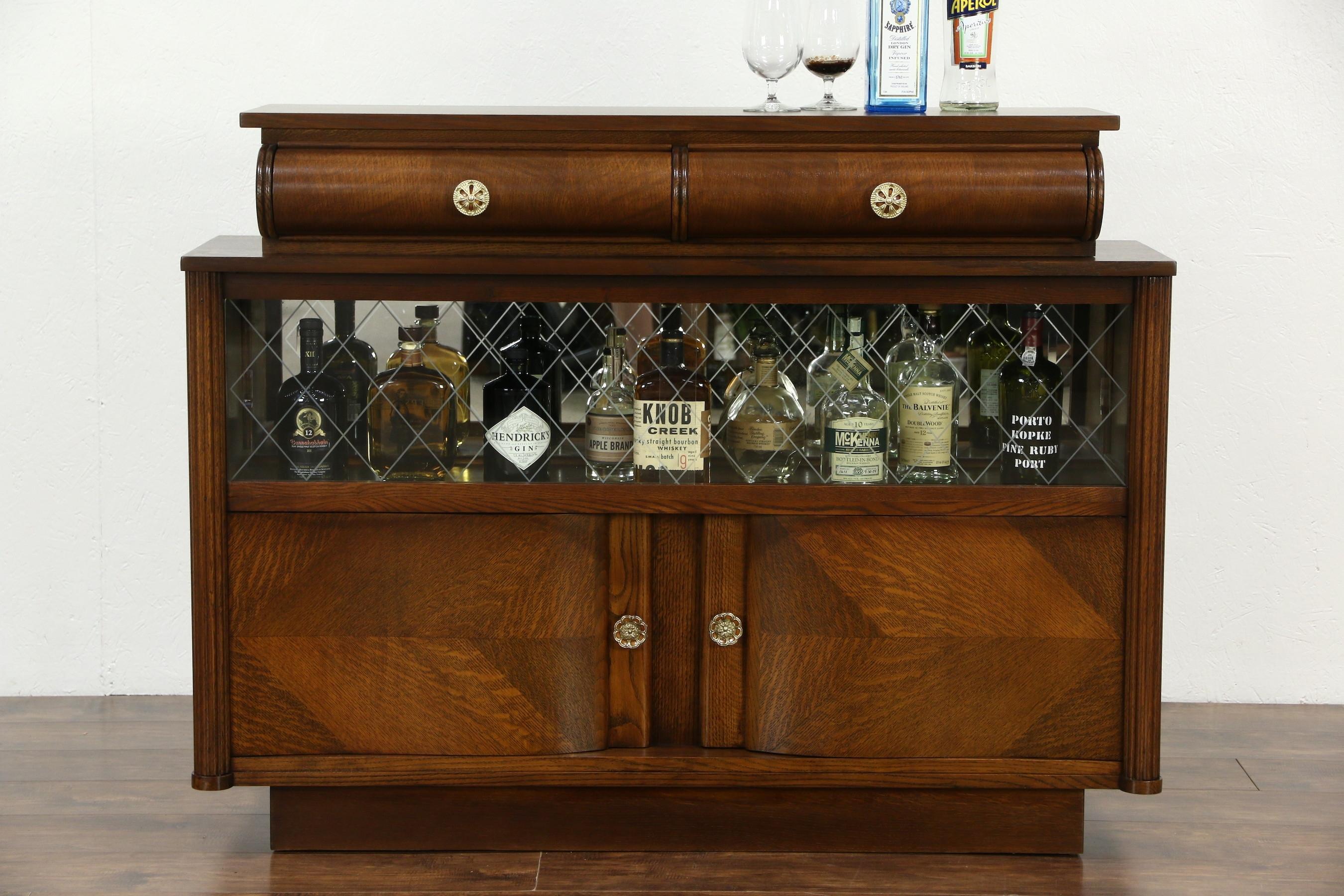 Sold – Art Deco Oak Vintage Scandinavian Sideboard, Bar Cabinet For 2018 Vintage 8 Glass Sideboards (#13 of 20)