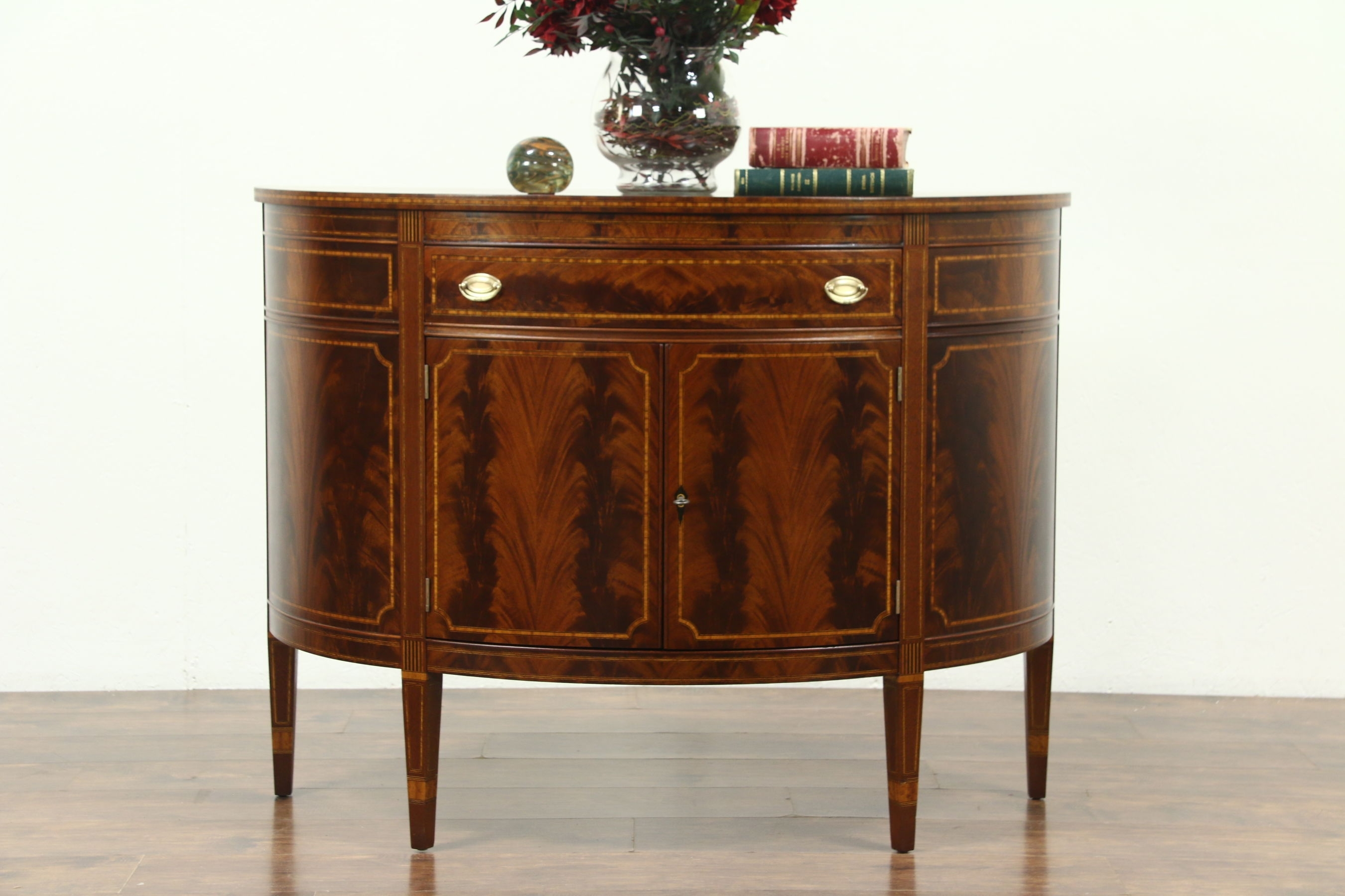 Sold – Demilune Half Round Vintage Sideboard Or Console Cabinet For 2018 Vintage Brown Textured Sideboards (View 13 of 20)