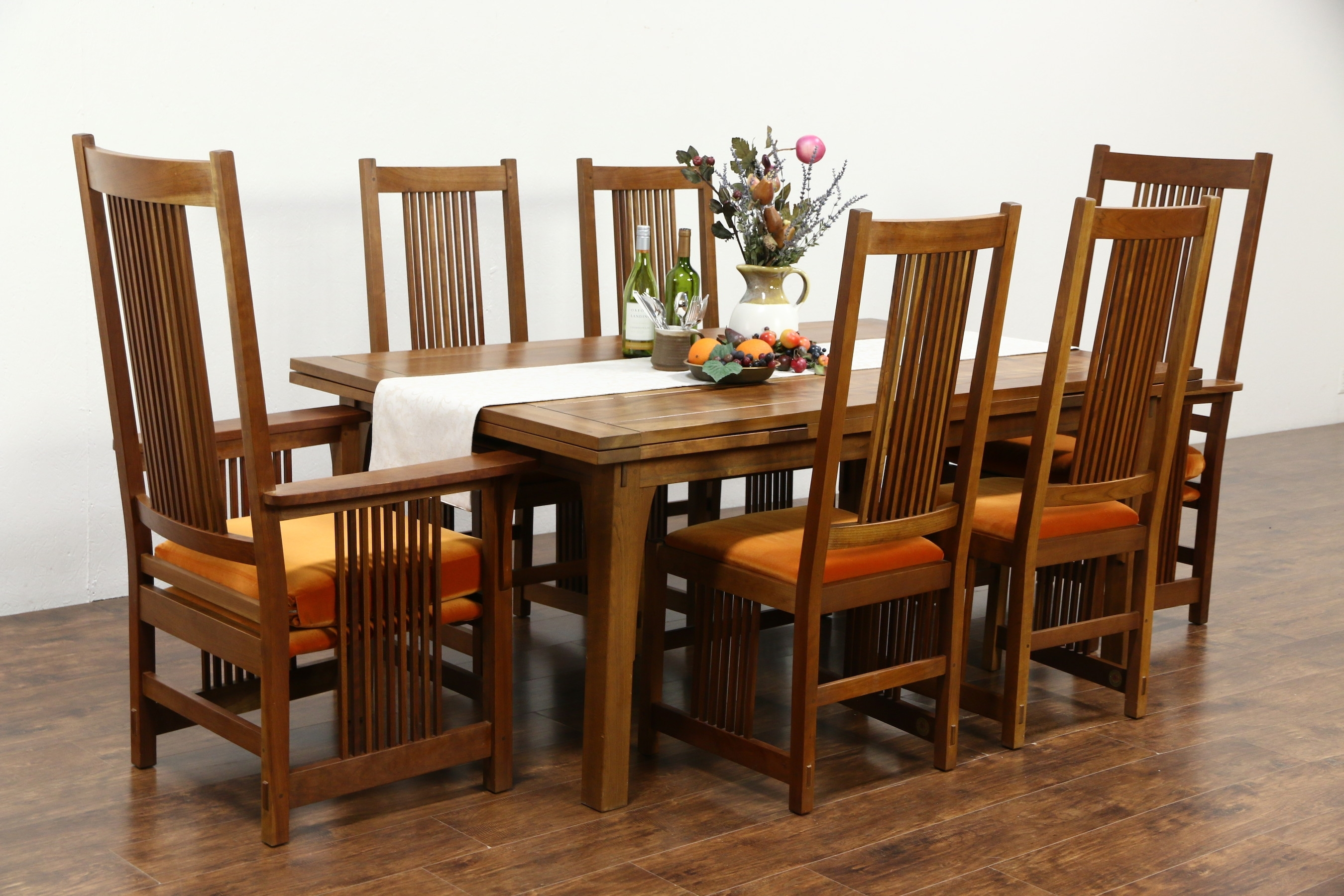 Sold – Stickley Signed Cherry Craftsman Design 1995 Dining Set Throughout Latest Craftsman Upholstered Side Chairs (#16 of 20)