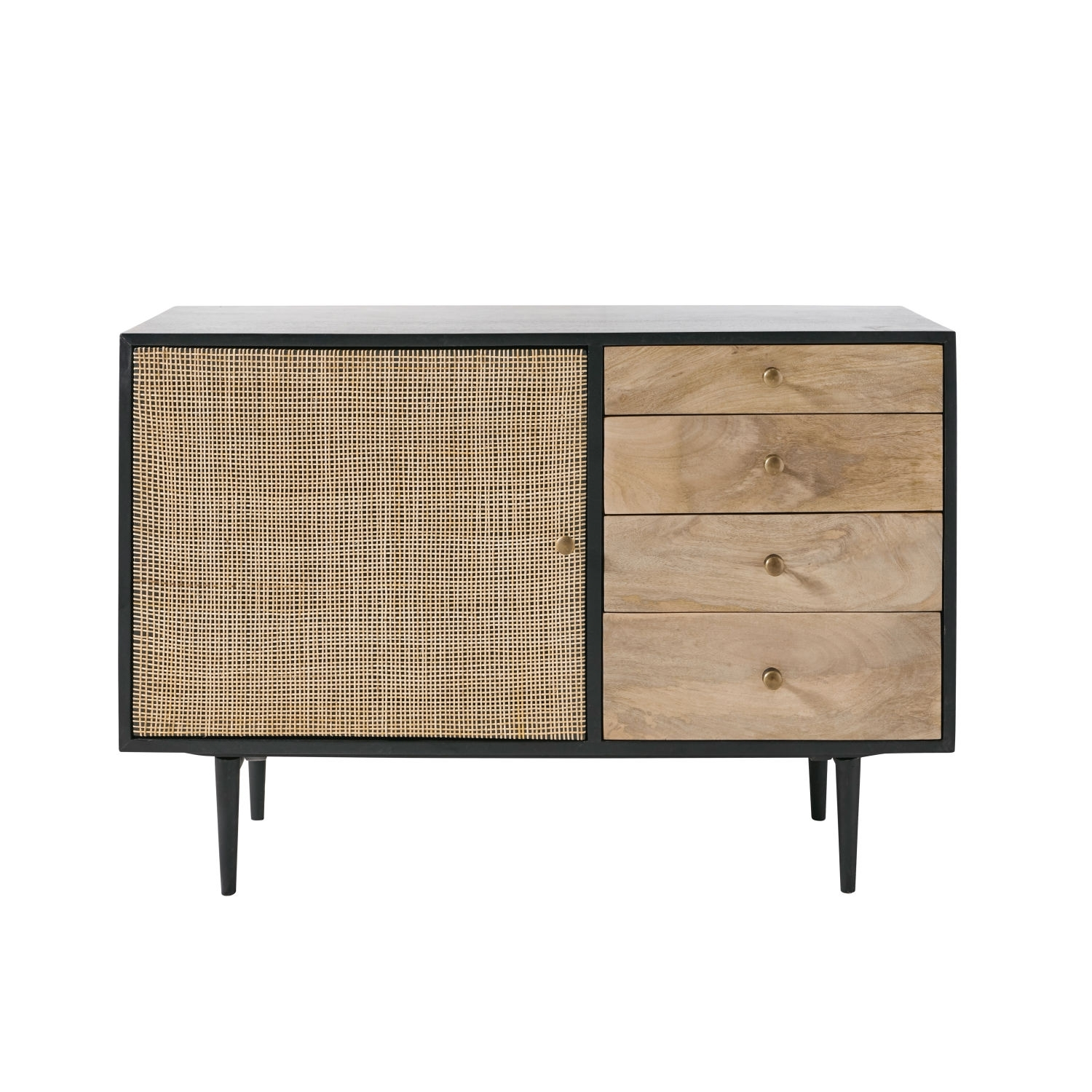Solid Mango Wood And Acacia 1 Door 4 Drawer Sideboard | Maisons Du Monde With Newest Acacia Wood 4 Door Sideboards (#17 of 20)
