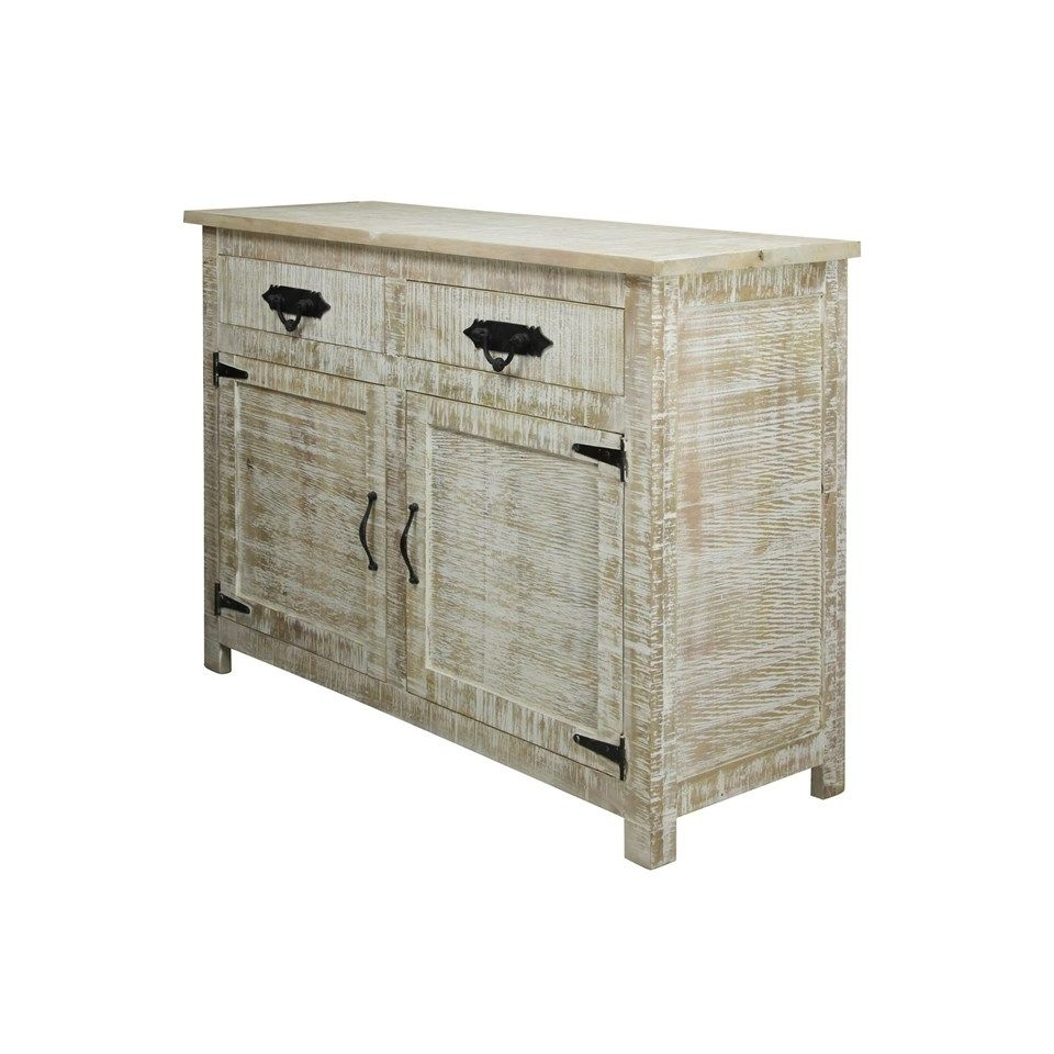 Solid Mango Wood Sideboard In Distressed White Wash Finish | 2 Door Inside Most Current 2 Door White Wash Sideboards (View 5 of 20)