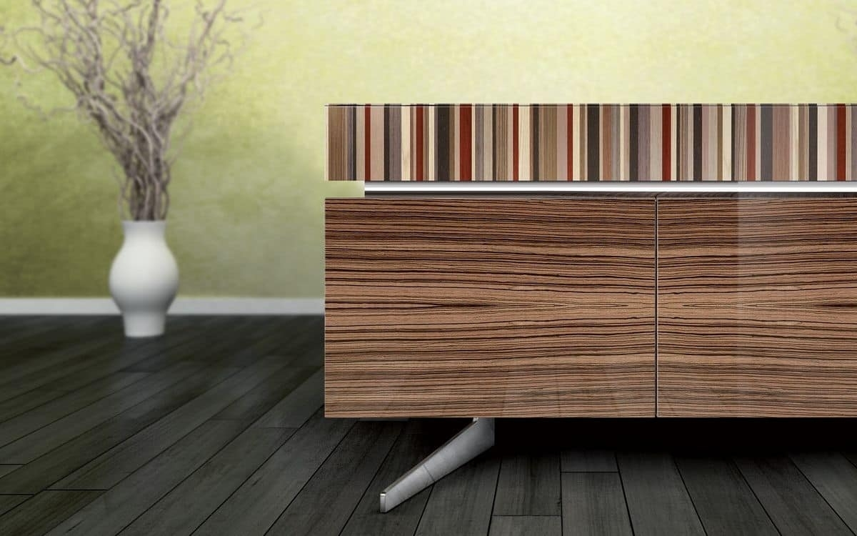 Sophisticated Sideboard, Zebrano Finish, 4 Doors And 2 Drawers In Latest Ironwood 4 Door Sideboards (View 3 of 20)