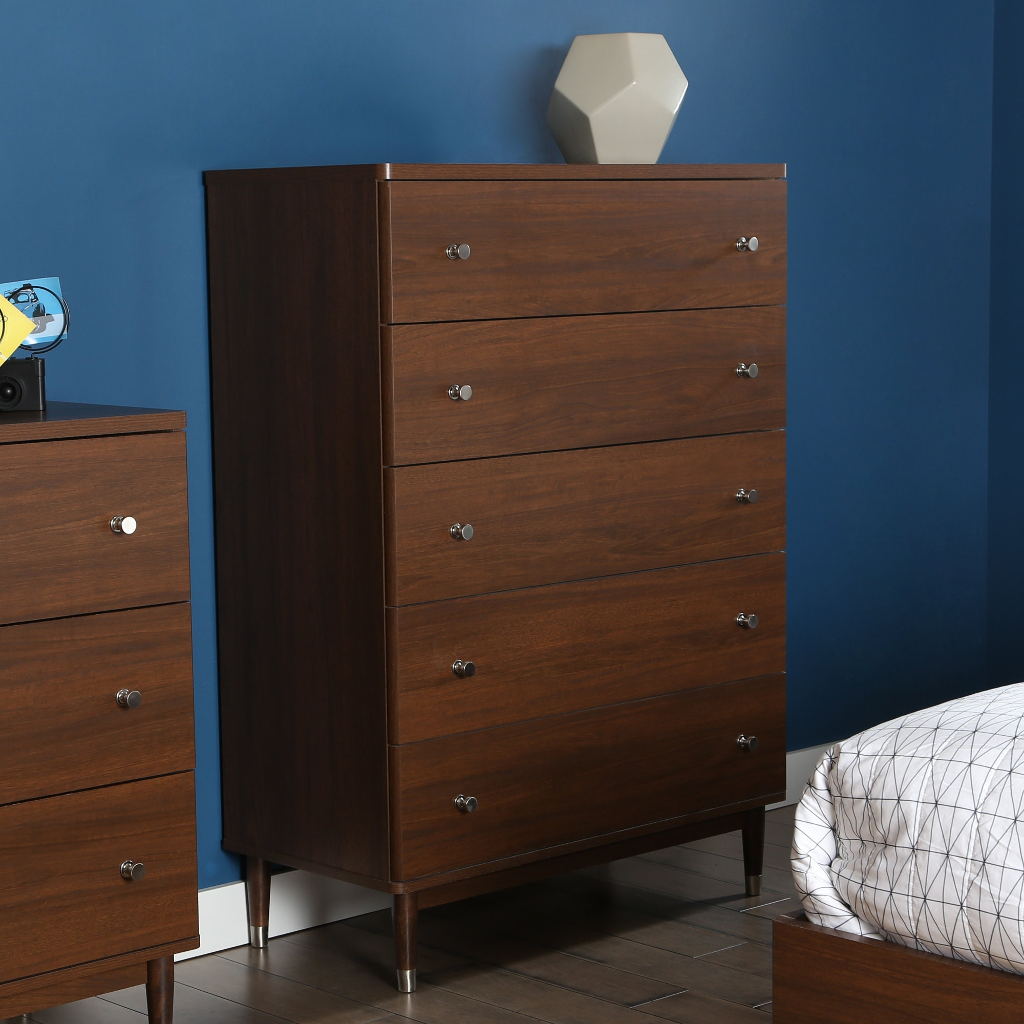 South Shore Olly Mid Century 5 Drawer Chest & Reviews | Wayfair With Regard To Most Up To Date Moraga Live Edge 8 Door Sideboards (View 15 of 20)
