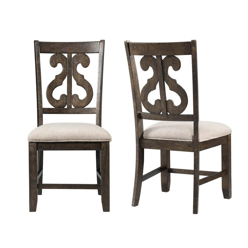Stanford Wooden Swirl Smokey Walnut Back Side Chair Set Dst150Sc Inside Current Burton Metal Side Chairs With Wooden Seat (#19 of 20)