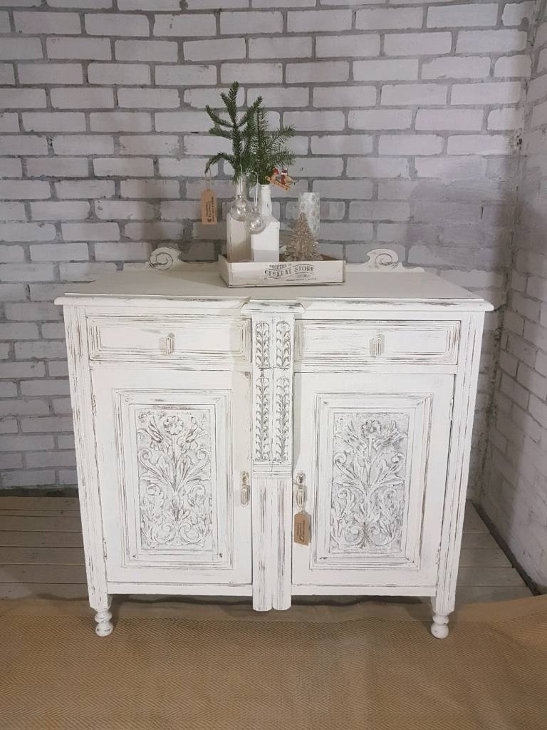 Stunning Antique White Carved 2 Drawer 2 Door Cupboard Sideboard Pertaining To Most Recent Antique White Distressed 3 Drawer/2 Door Sideboards (#19 of 20)