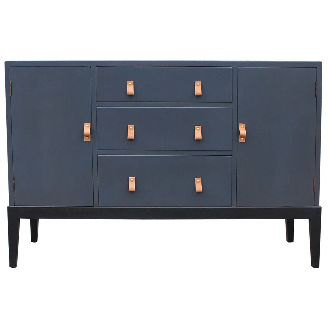 Superb Grey Sideboard Or Buffet With Leather Handles | Sideboards In Latest Bale Rustic Grey Sideboards (#20 of 20)