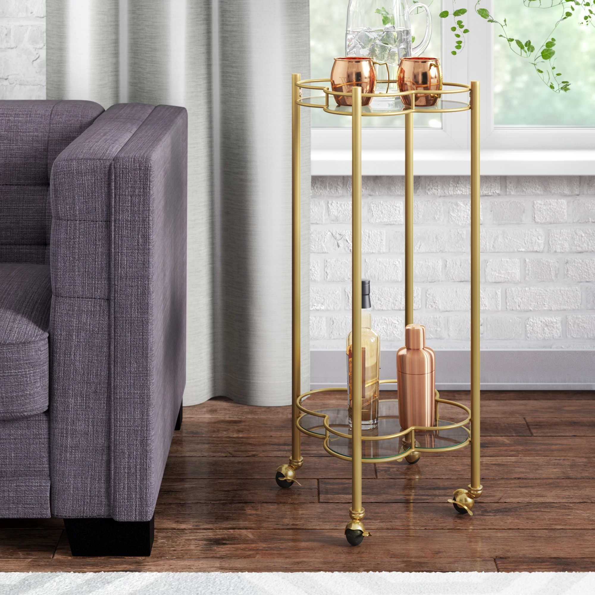 Inspiration about Teagan Side Chairs With Regard To Well Known Langley Street Teagan 2 Tier Quatrefoil Bar Cart (#19 of 20)