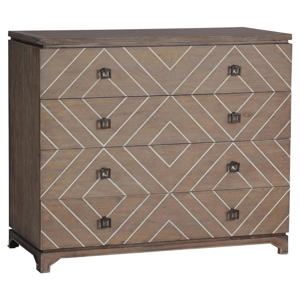 Terrance Modern Global Geometric Bone Oak Chest Dresser | Kathy Kuo Home With Regard To Latest Geo Pattern Black And White Bone Inlay Sideboards (View 13 of 20)