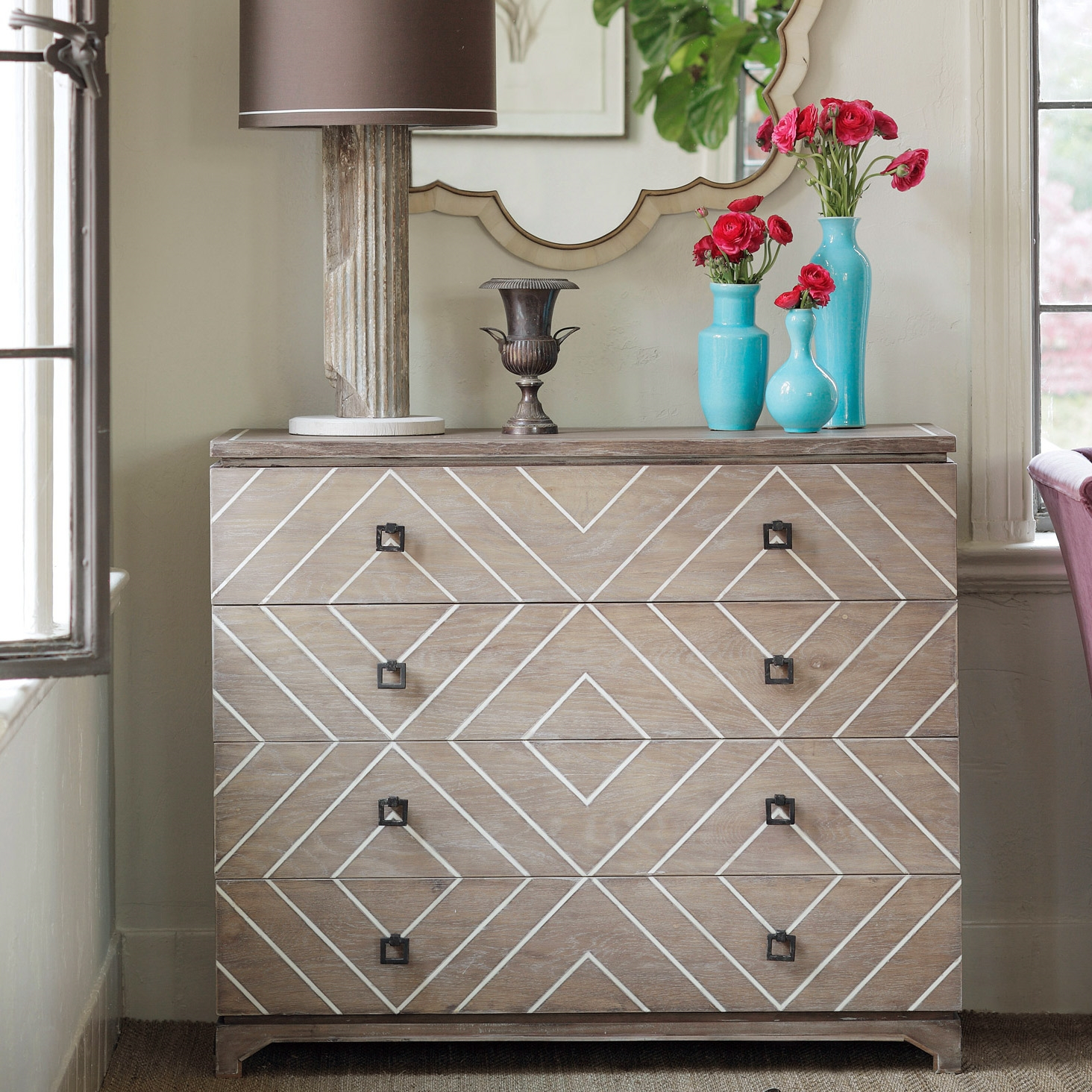 The Gabby Terrance Chest Introduces Transitional Style To For Recent Geo Pattern Black And White Bone Inlay Sideboards (View 20 of 20)