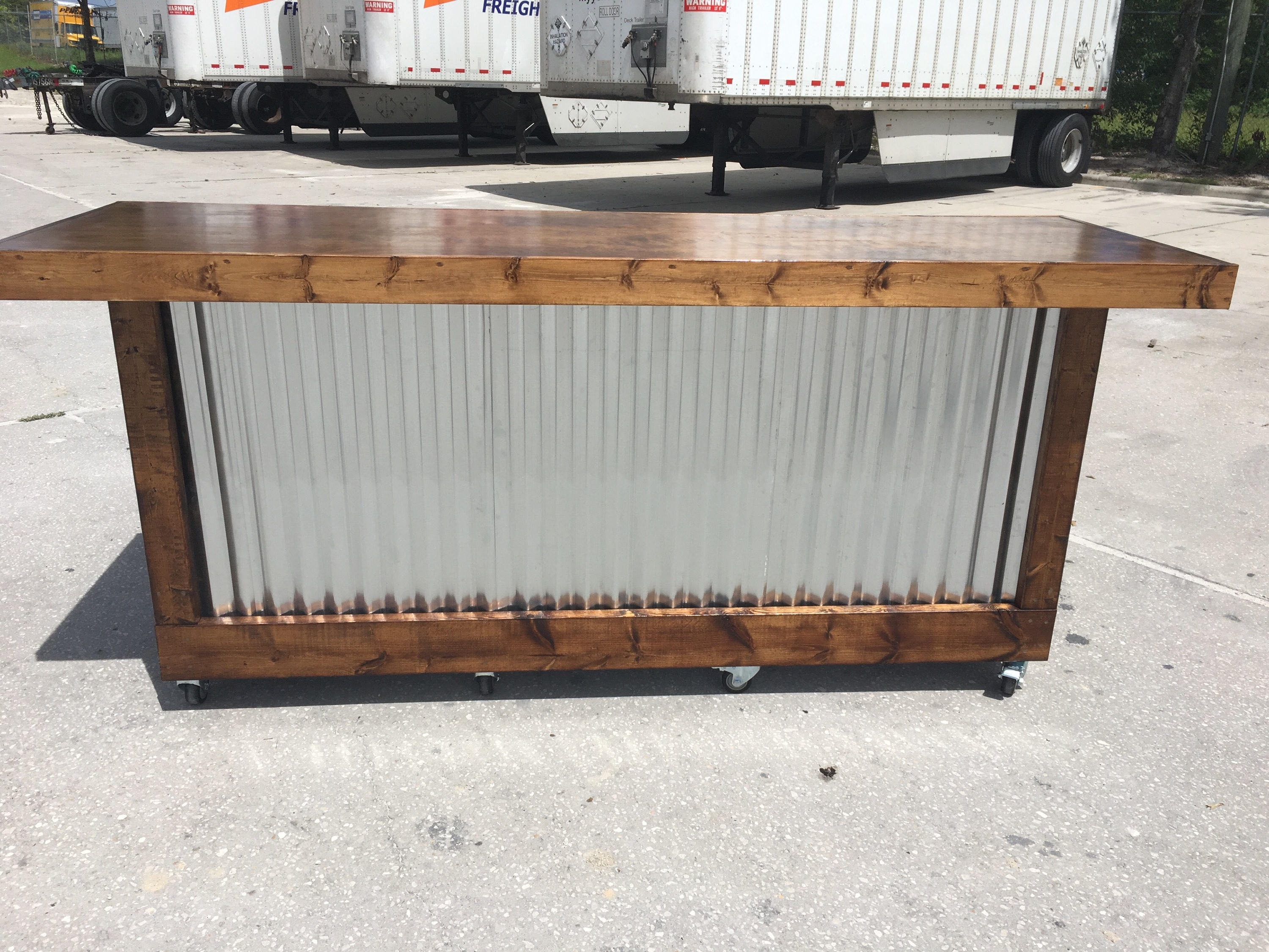 Inspiration about The Provincial 8 Foot Mobile Corrugated Metal Bar Sales | Etsy With Most Popular Corrugated Metal Sideboards (#11 of 20)