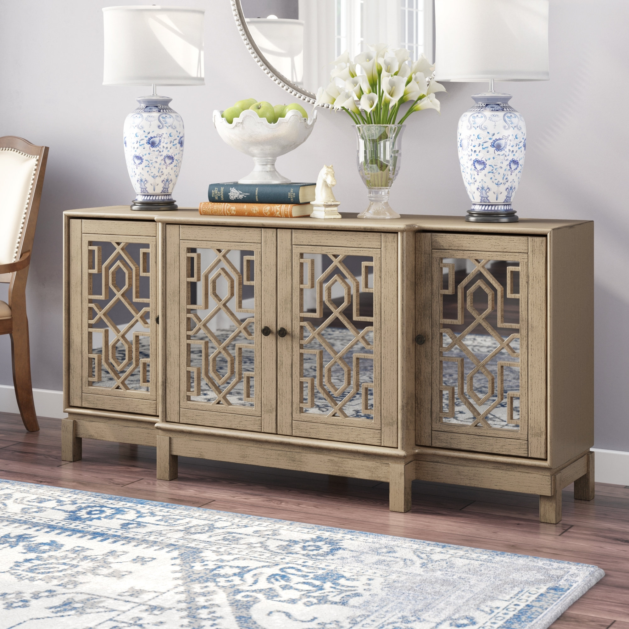 Three Posts Stillwater Sideboard & Reviews | Wayfair Throughout Most Recently Released 2 Door Mirror Front Sideboards (View 2 of 20)