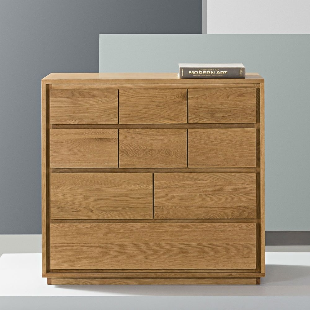 Inspiration about Tobias 9 Drawer Chest – Solid Oak – 100X45X95Cm | Solid Oak, Tobias For 2018 Tobias 4 Door Sideboards (#1 of 20)