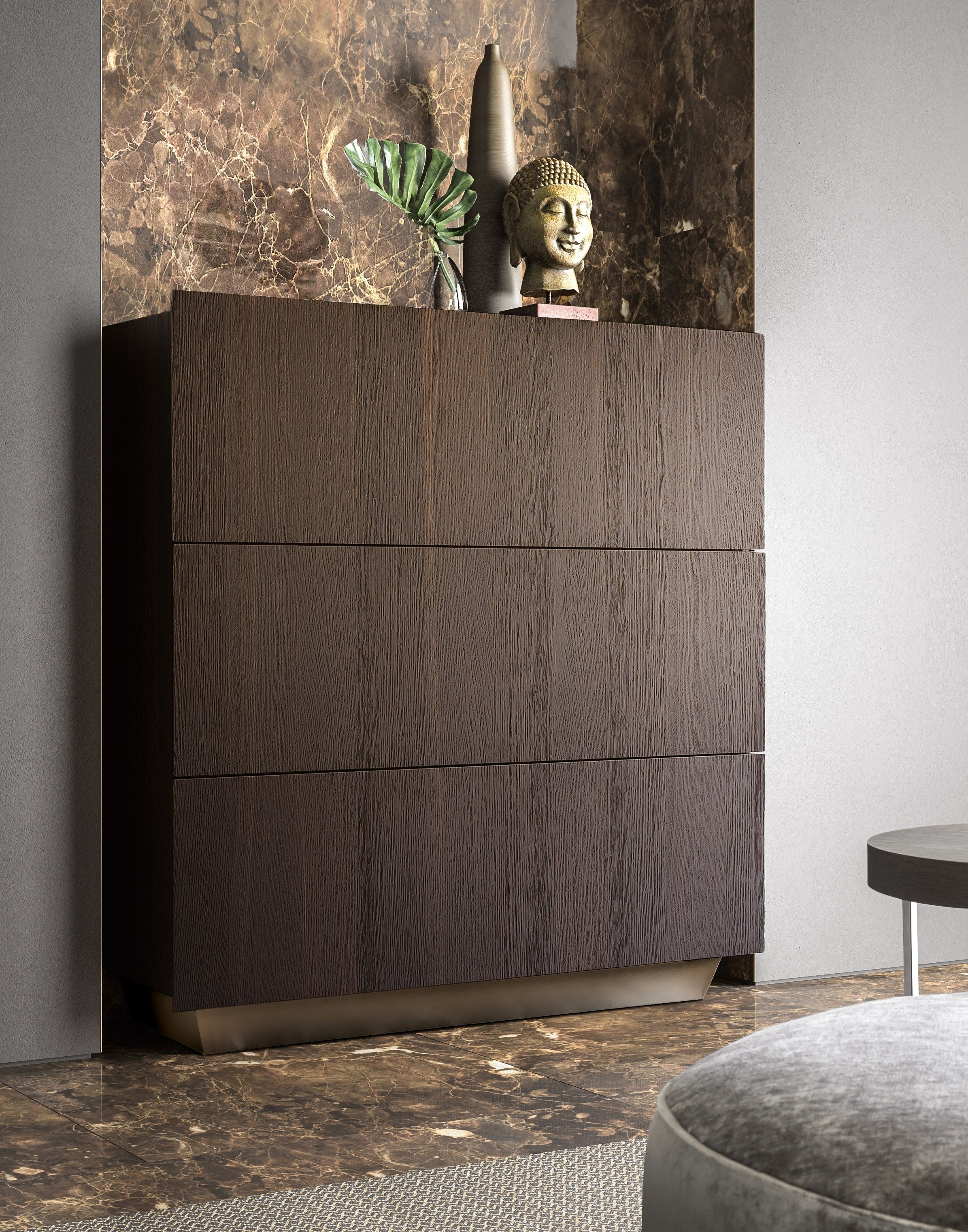 Inspiration about Tosca Sideboard With Burnt Oak Exterior And Bronze Base | Pianca Pertaining To Most Up To Date Black Burnt Oak Sideboards (#6 of 20)