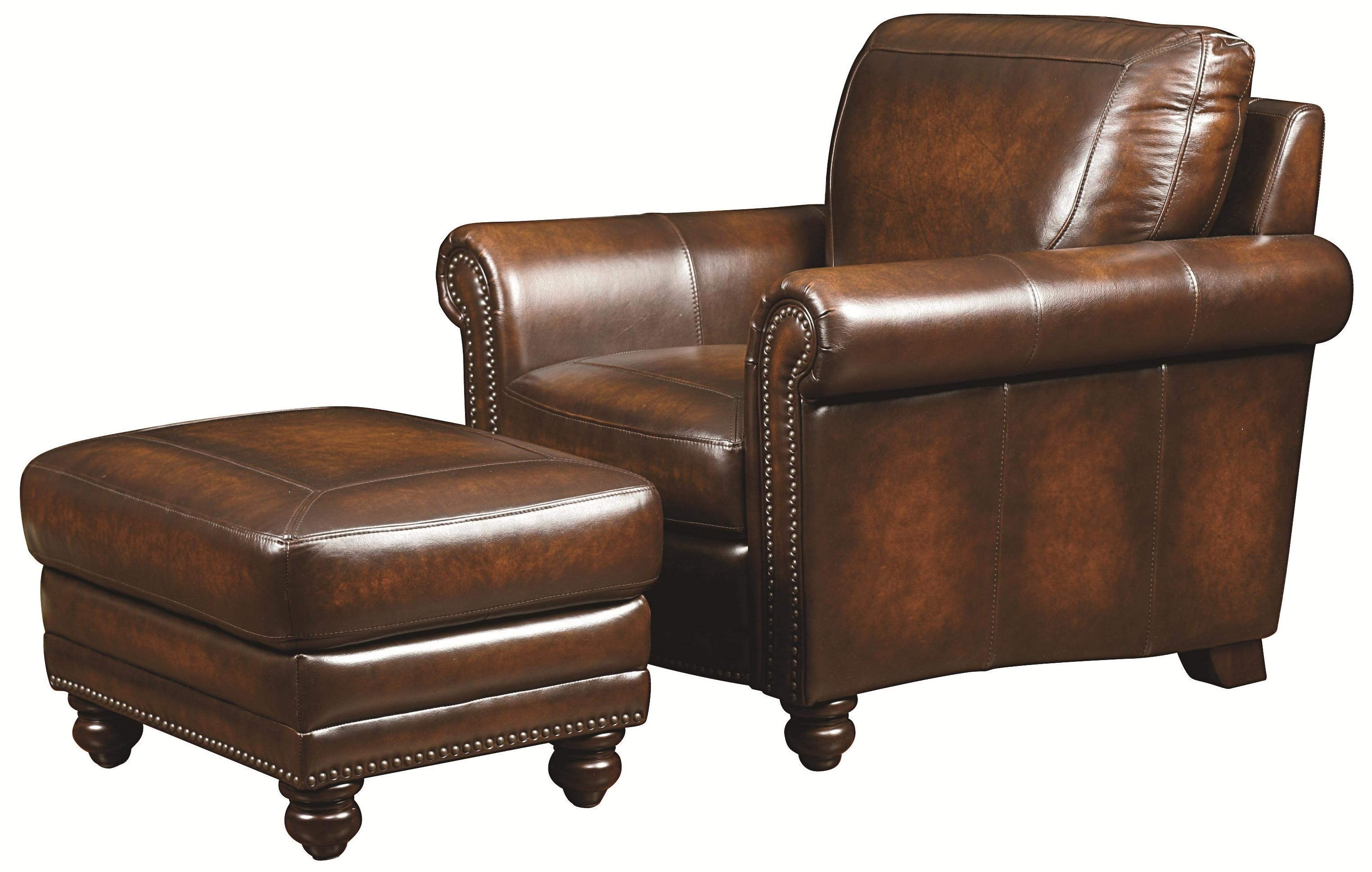 Inspiration about Traditional Leather Chair And Ottoman With Nail Head Trim – Hamilton Within Well Known Magnolia Home Hamilton Saddle Side Chairs (#18 of 20)
