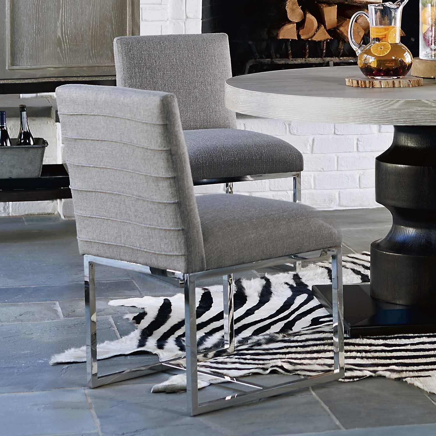 Trendy Cooper Upholstered Side Chairs With Zephyr Cooper Stainless Steel & Upholstered Side Chair In Dark Gray (View 13 of 20)